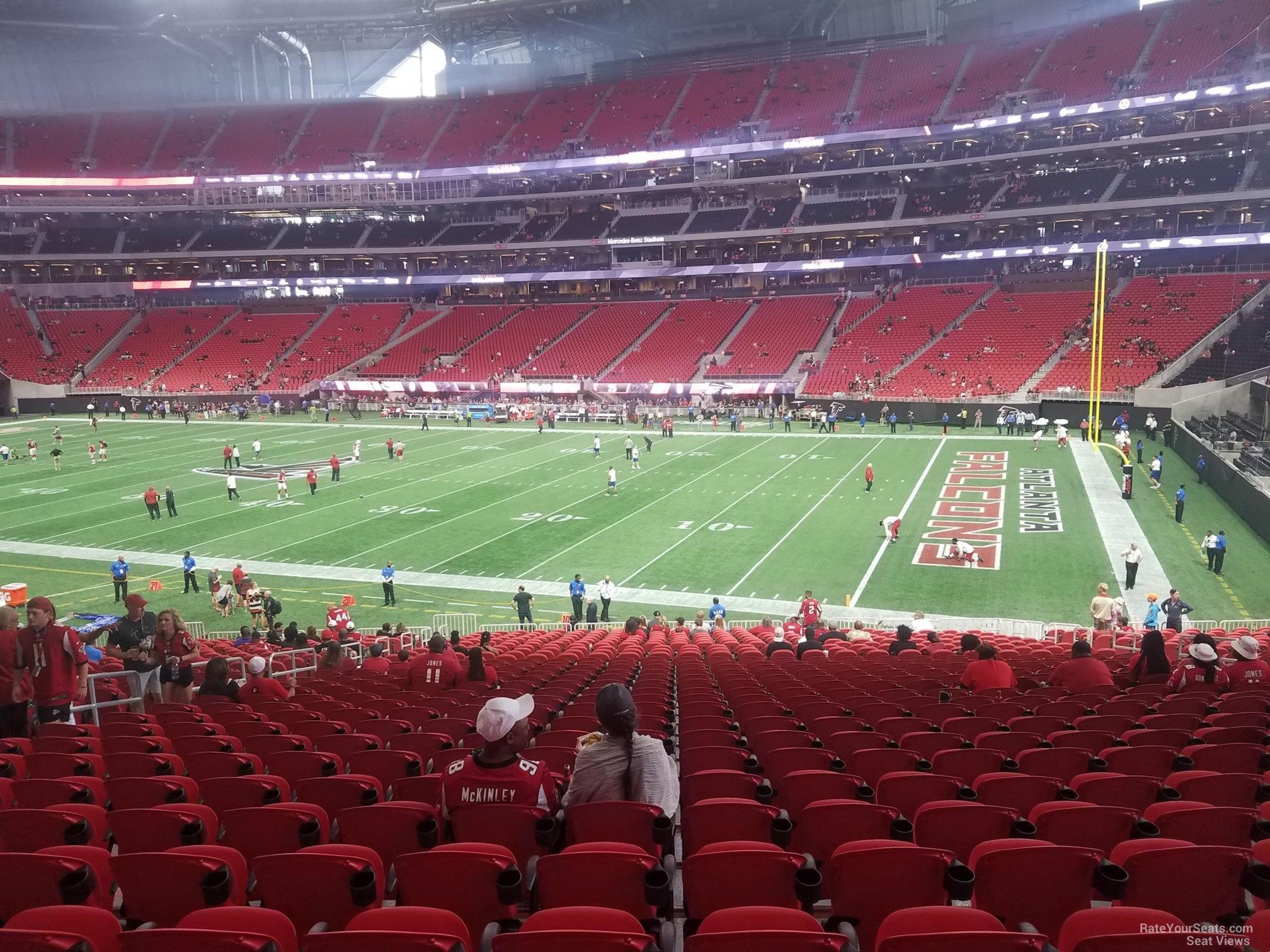 Mercedes benz stadium section 106 atlanta falcons for Mercedes benz stadium seat view