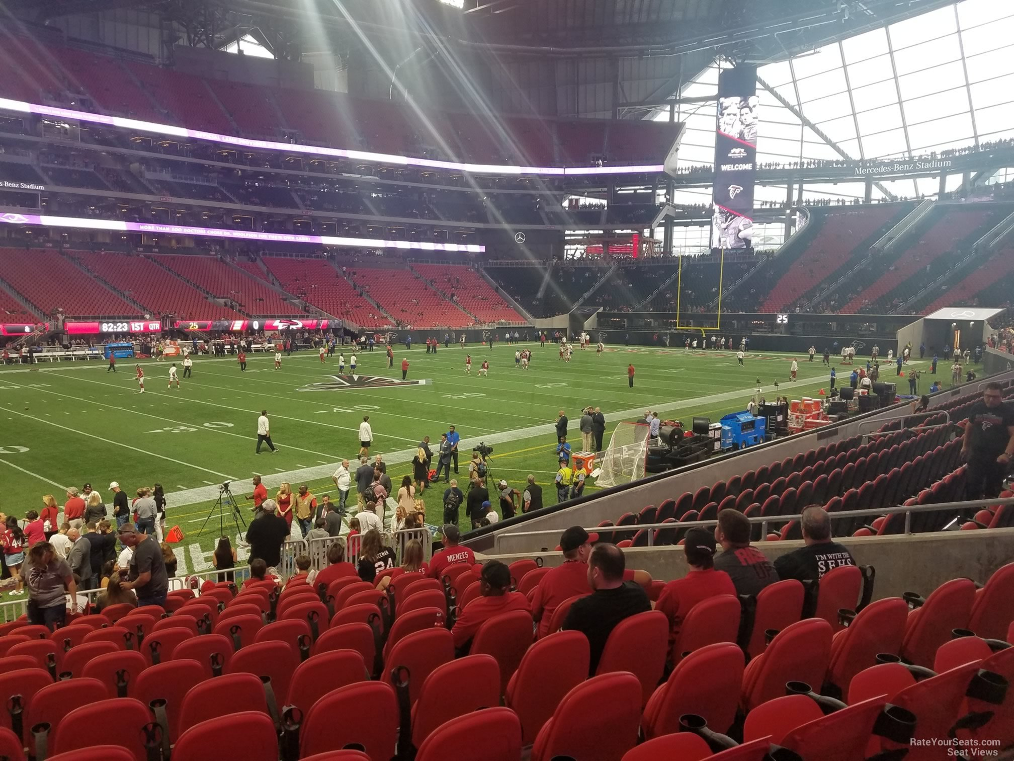 Mercedes benz stadium section 113 atlanta falcons for Mercedes benz seat view