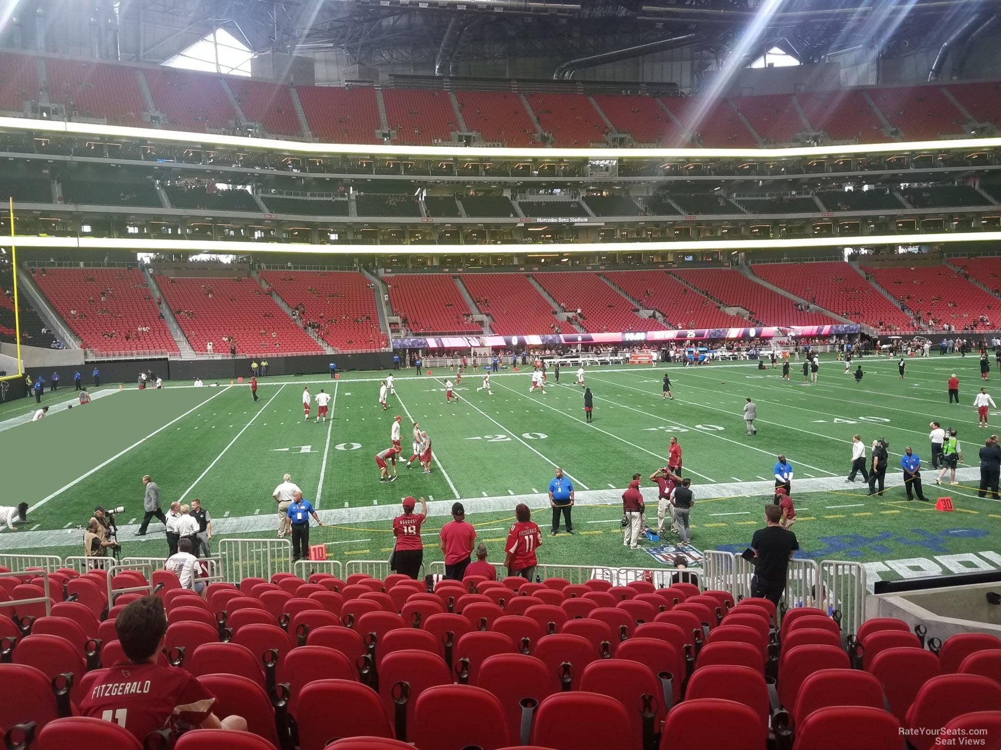 Mercedes benz stadium section 131 atlanta falcons for Seat view mercedes benz atlanta