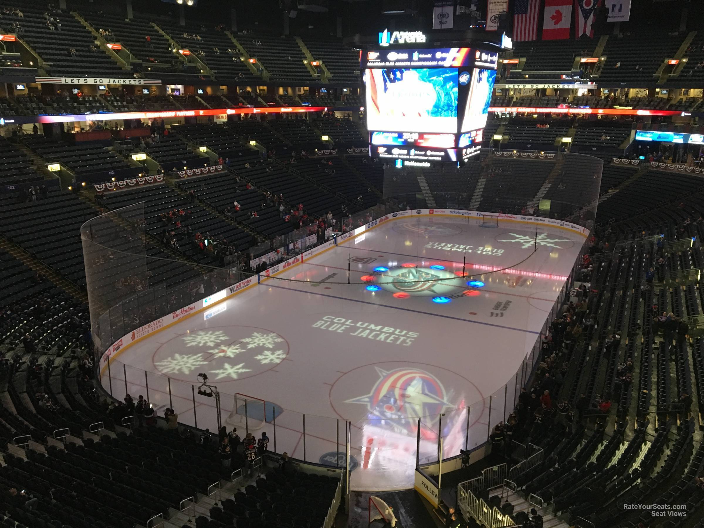 Columbus Blue Jackets Seat View for Nationwide Arena Section 222, Row A