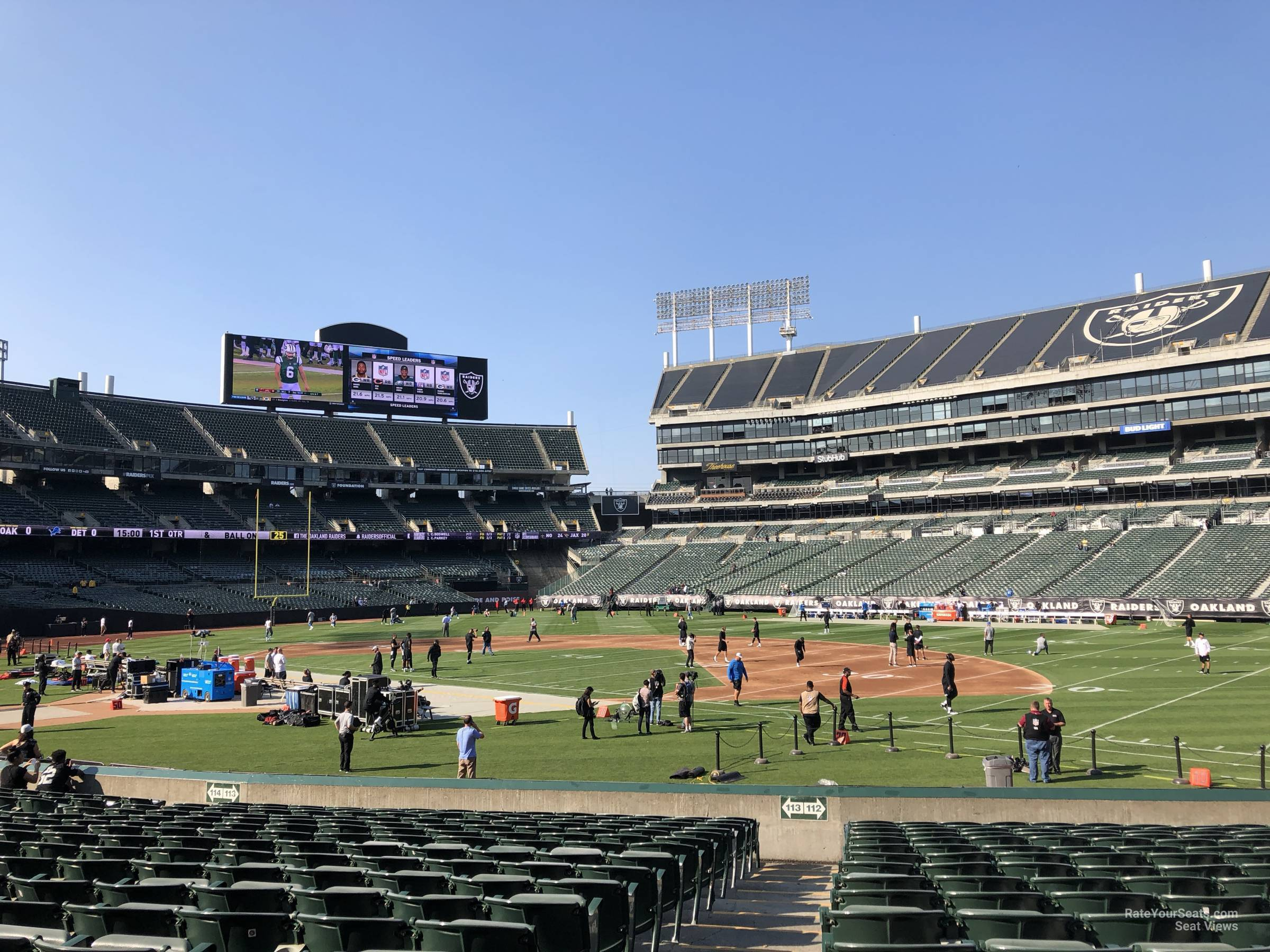 Oakland Raiders Seat View for RingCentral Coliseum Section 112, Row 15