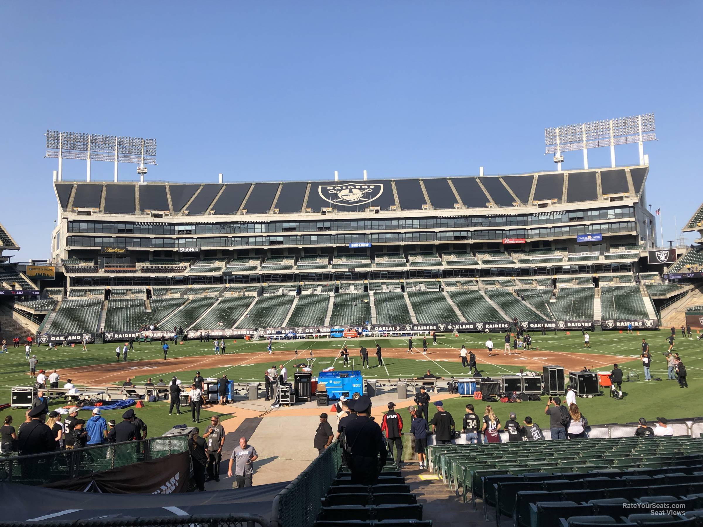 Oakland Raiders Seat View for Oakland Coliseum Section 117, Row 15