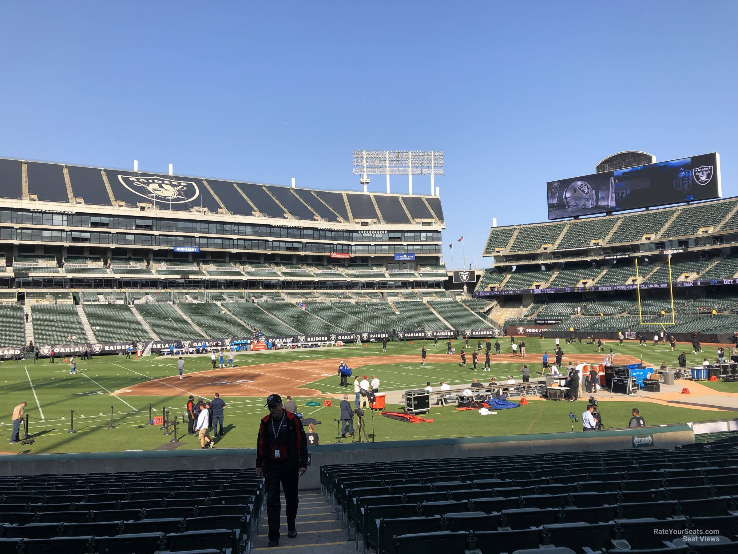 Oakland Raiders Seat View for Oakland Coliseum Section 121, Row 15