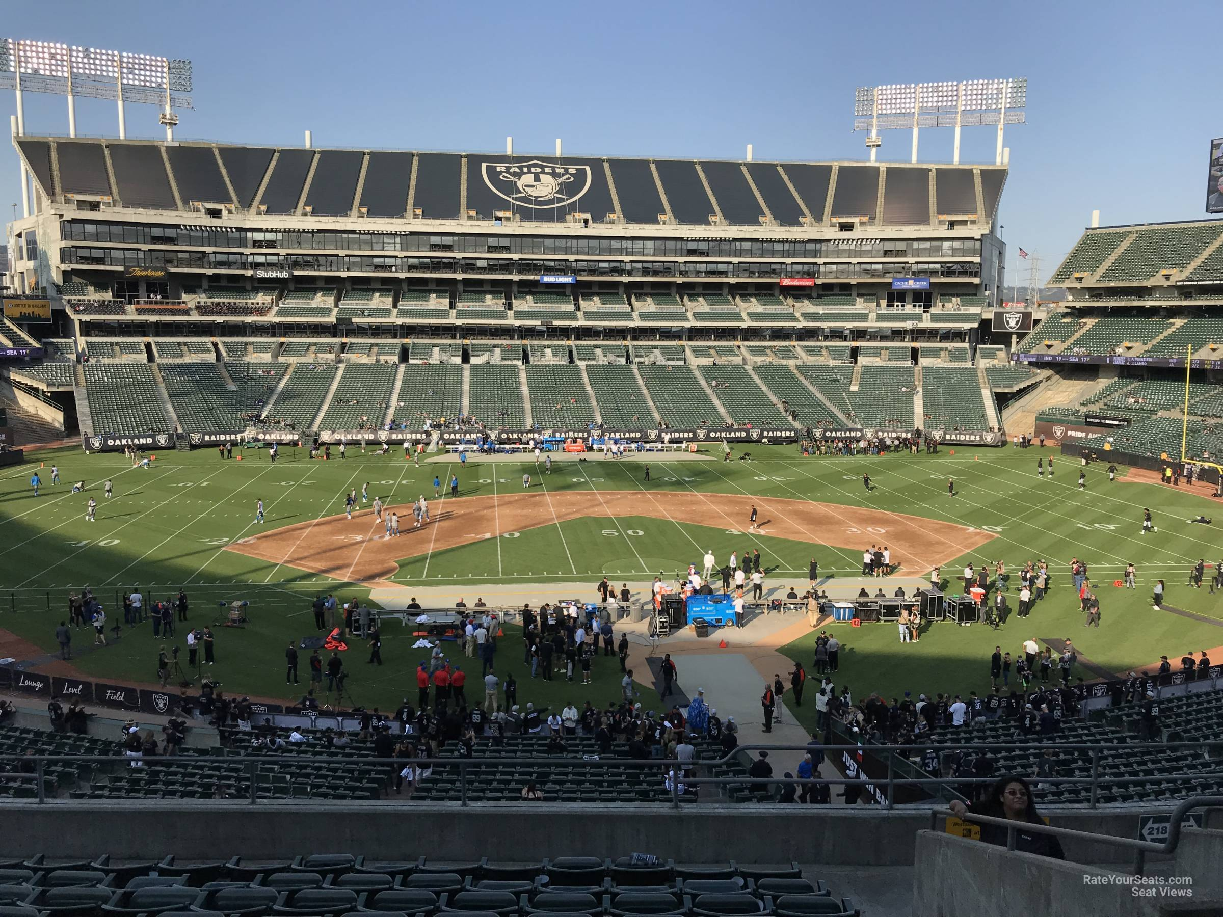 Oakland Raiders Seat View for RingCentral Coliseum Section 218, Row 10