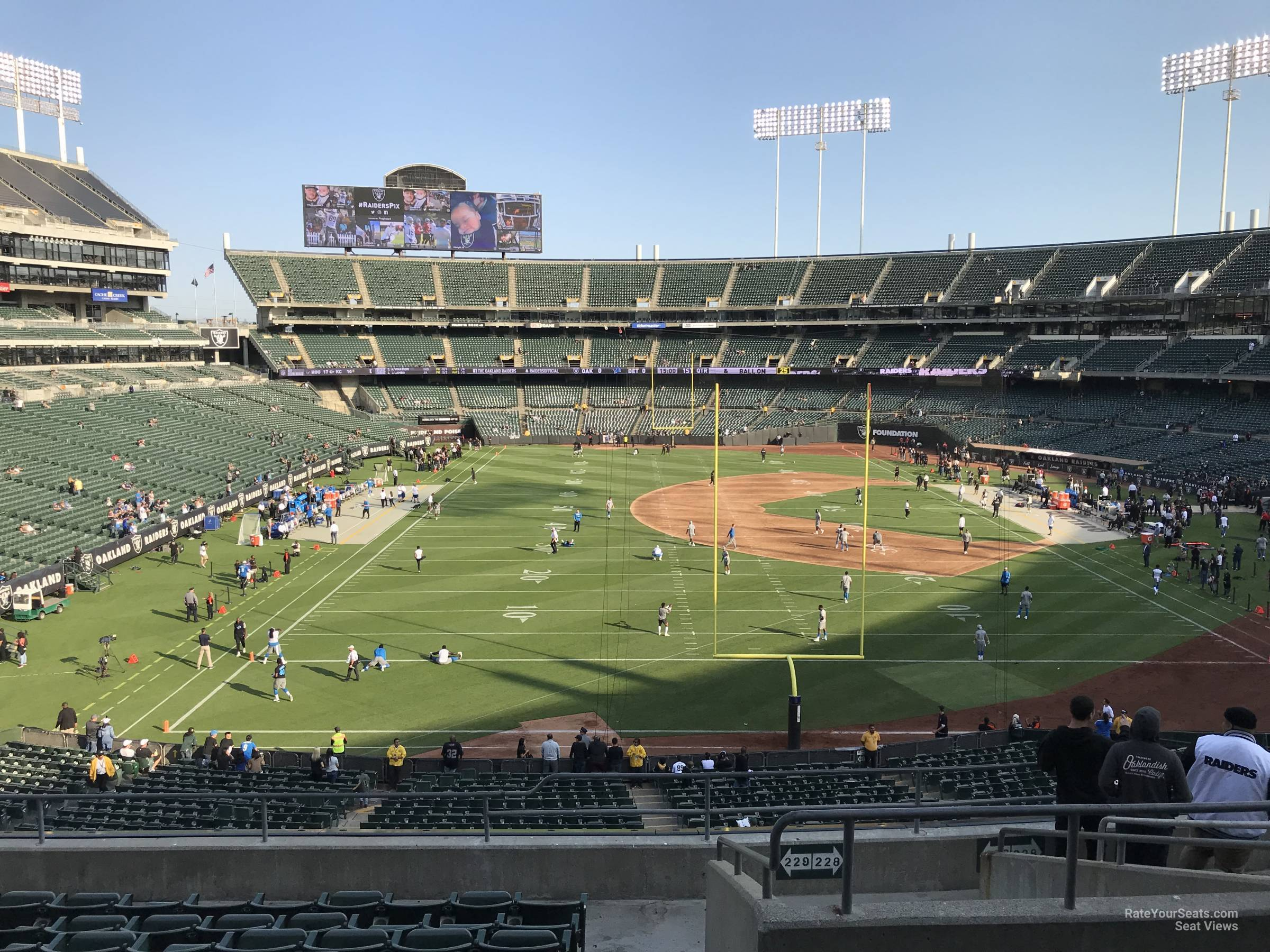Oakland Raiders Seat View for Oakland Coliseum Section 229, Row 10