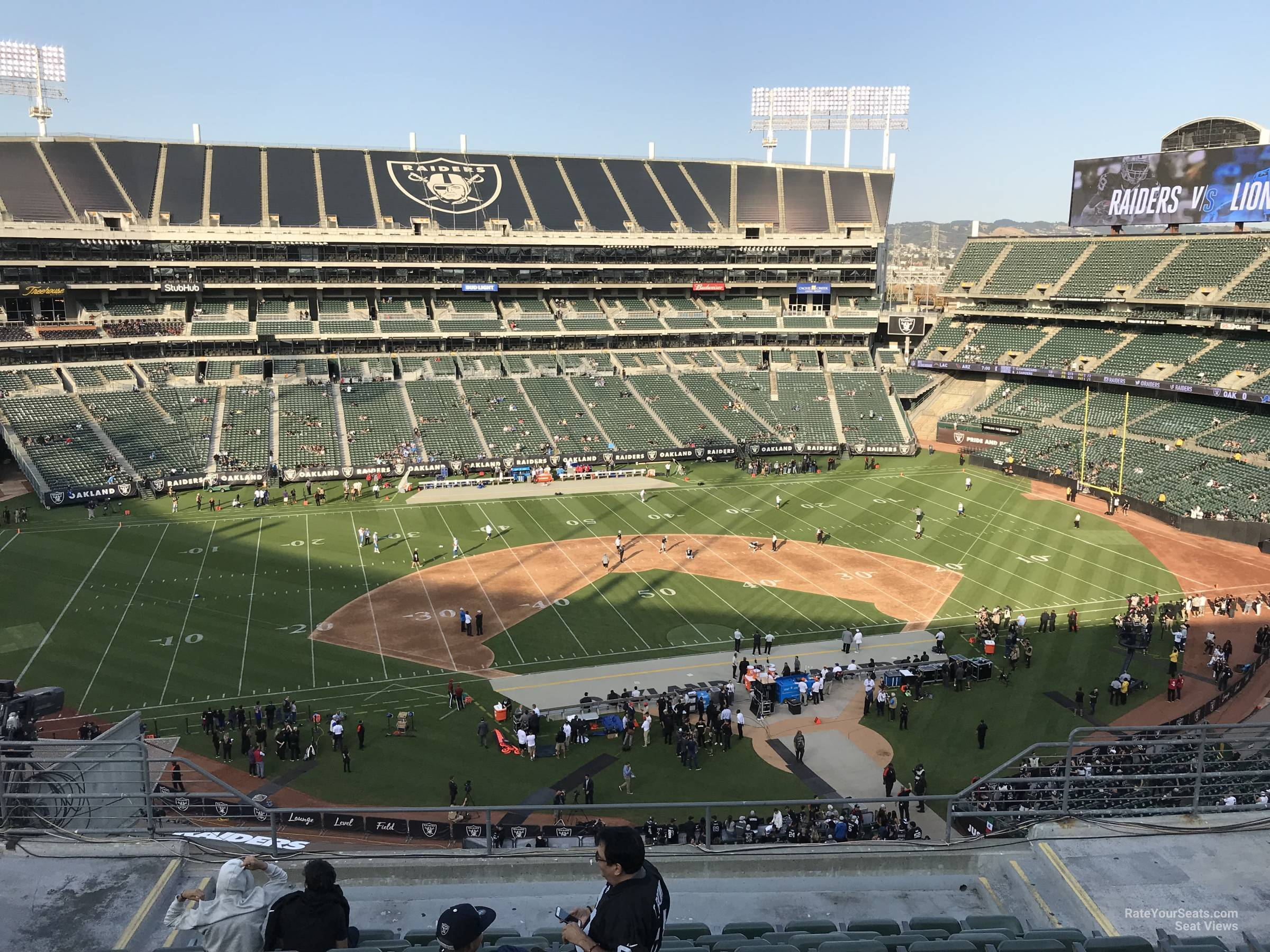 Oakland Raiders Seat View for RingCentral Coliseum Section 319, Row 9
