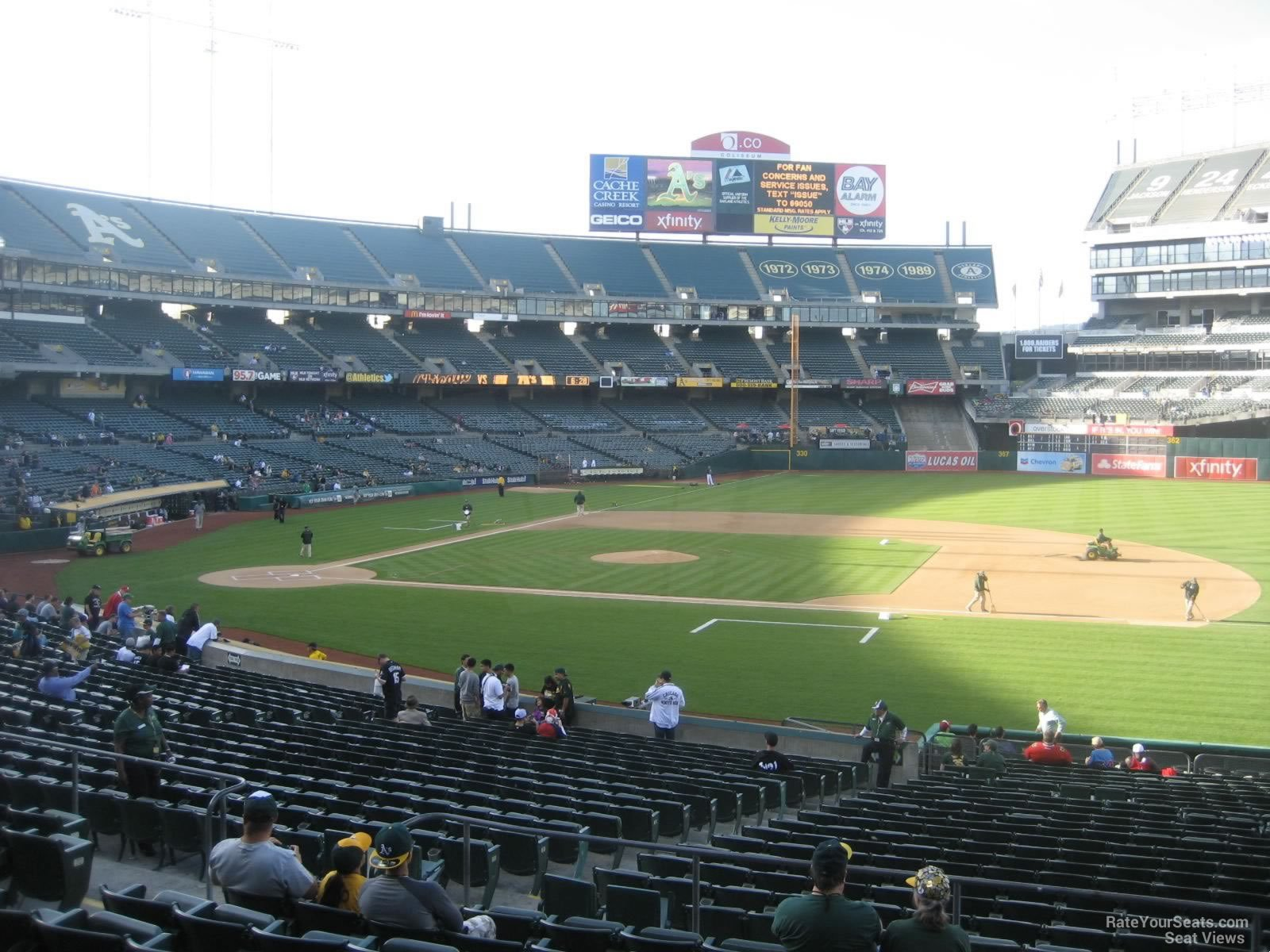 Oakland Athletics Seat View for Oakland Coliseum Section 111, Row 30