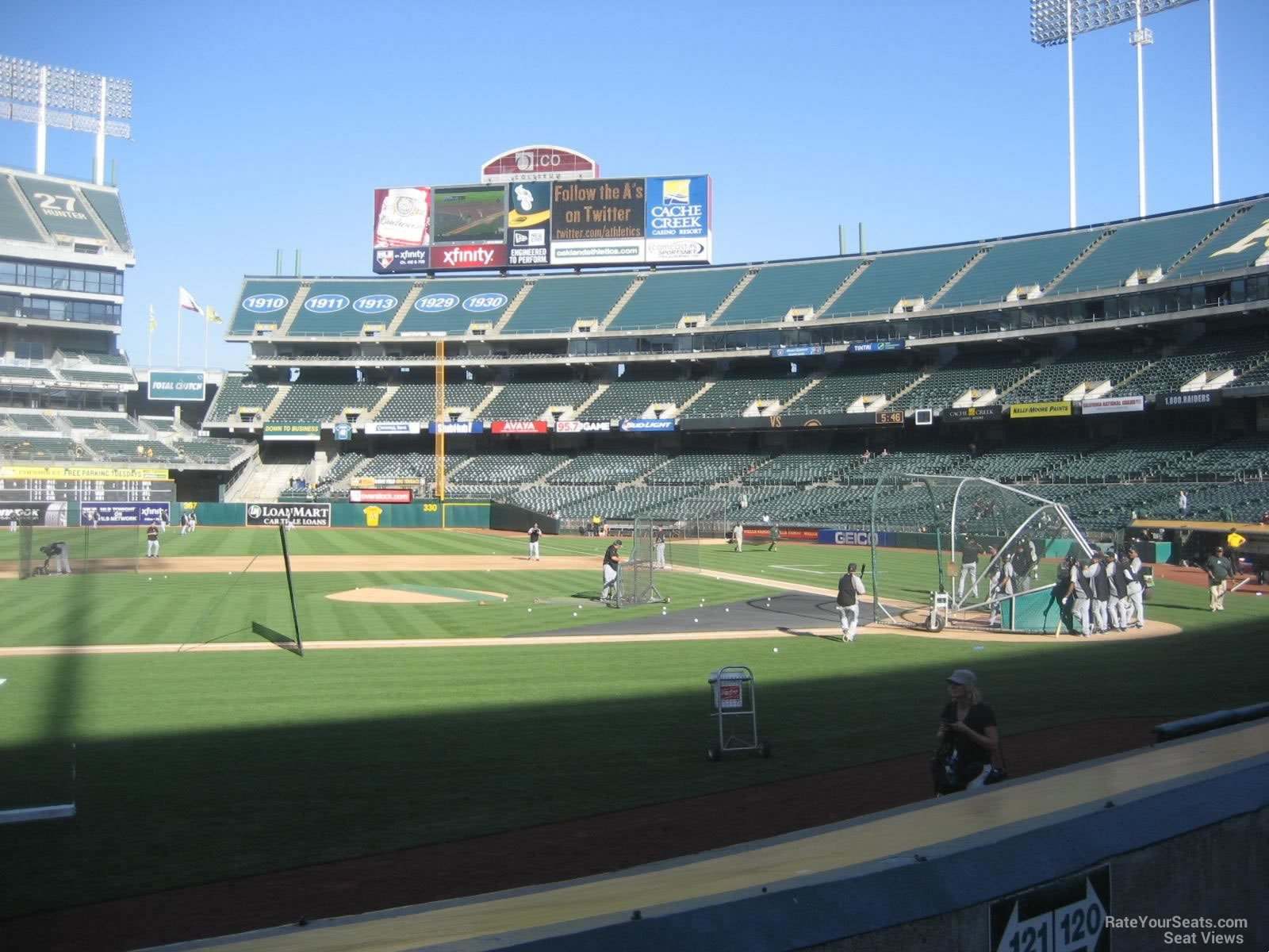 View from Section 121 Row 8 at Oakland Coliseum