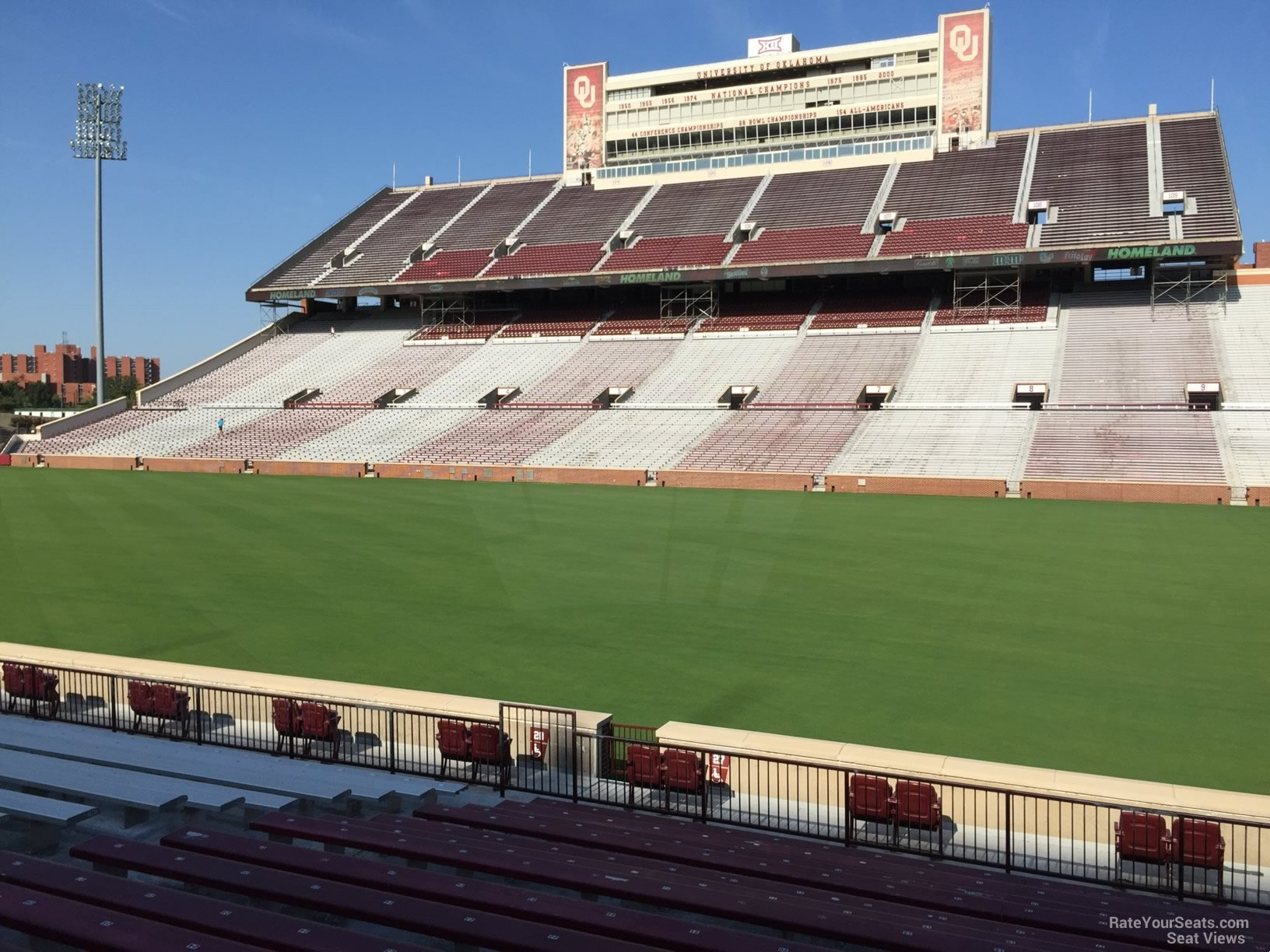 Seat View for Oklahoma Memorial Stadium Section 27, Row 20