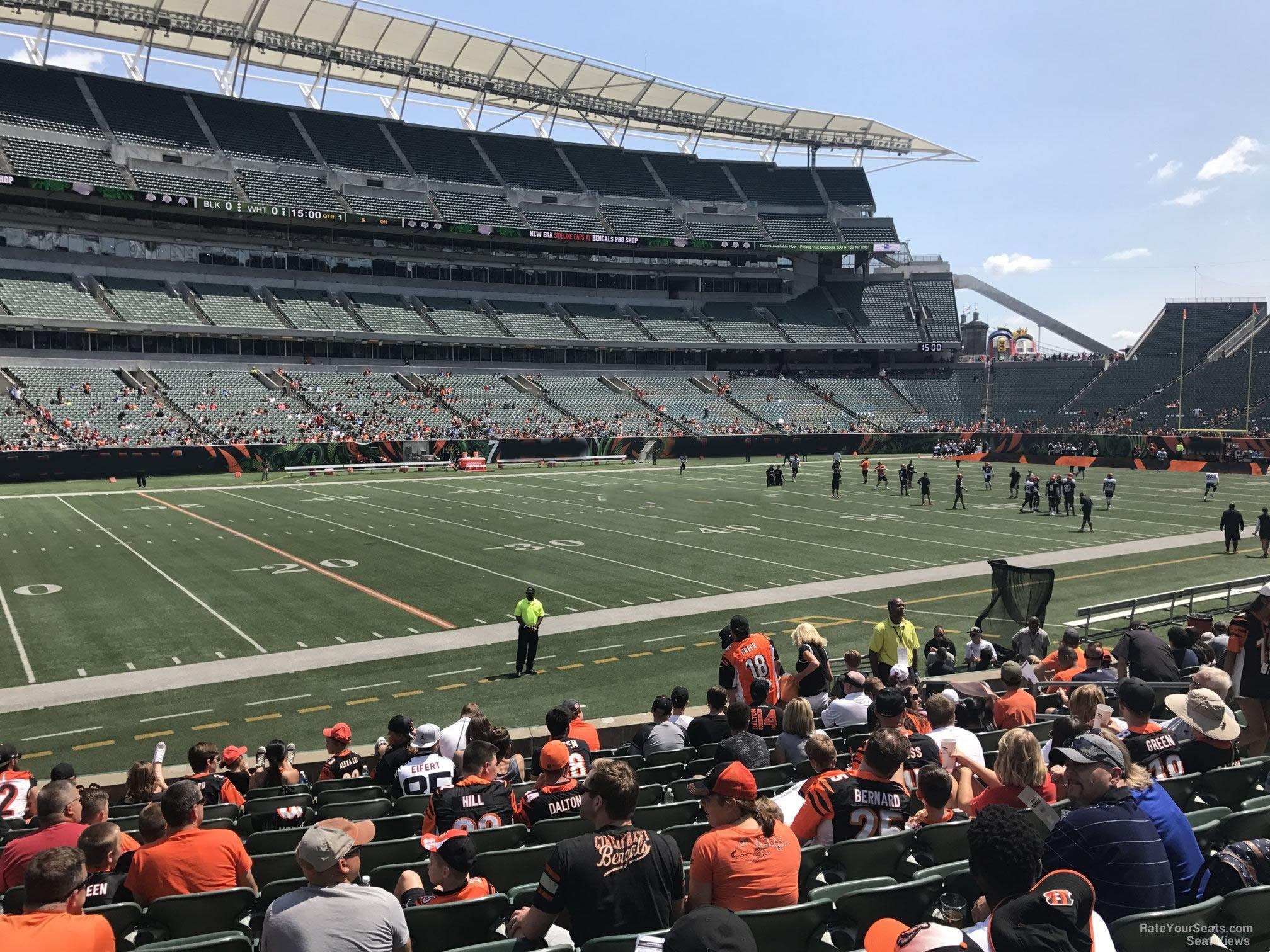 paul brown stadium section 114 rateyourseats com