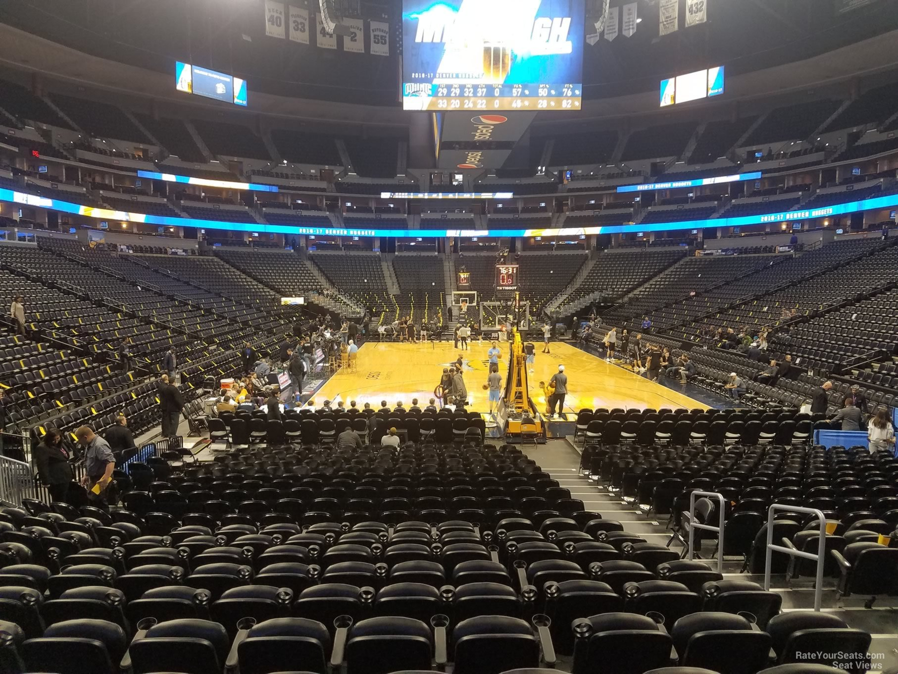 Denver Nuggets Seat View for Pepsi Center Section 138, Row 11
