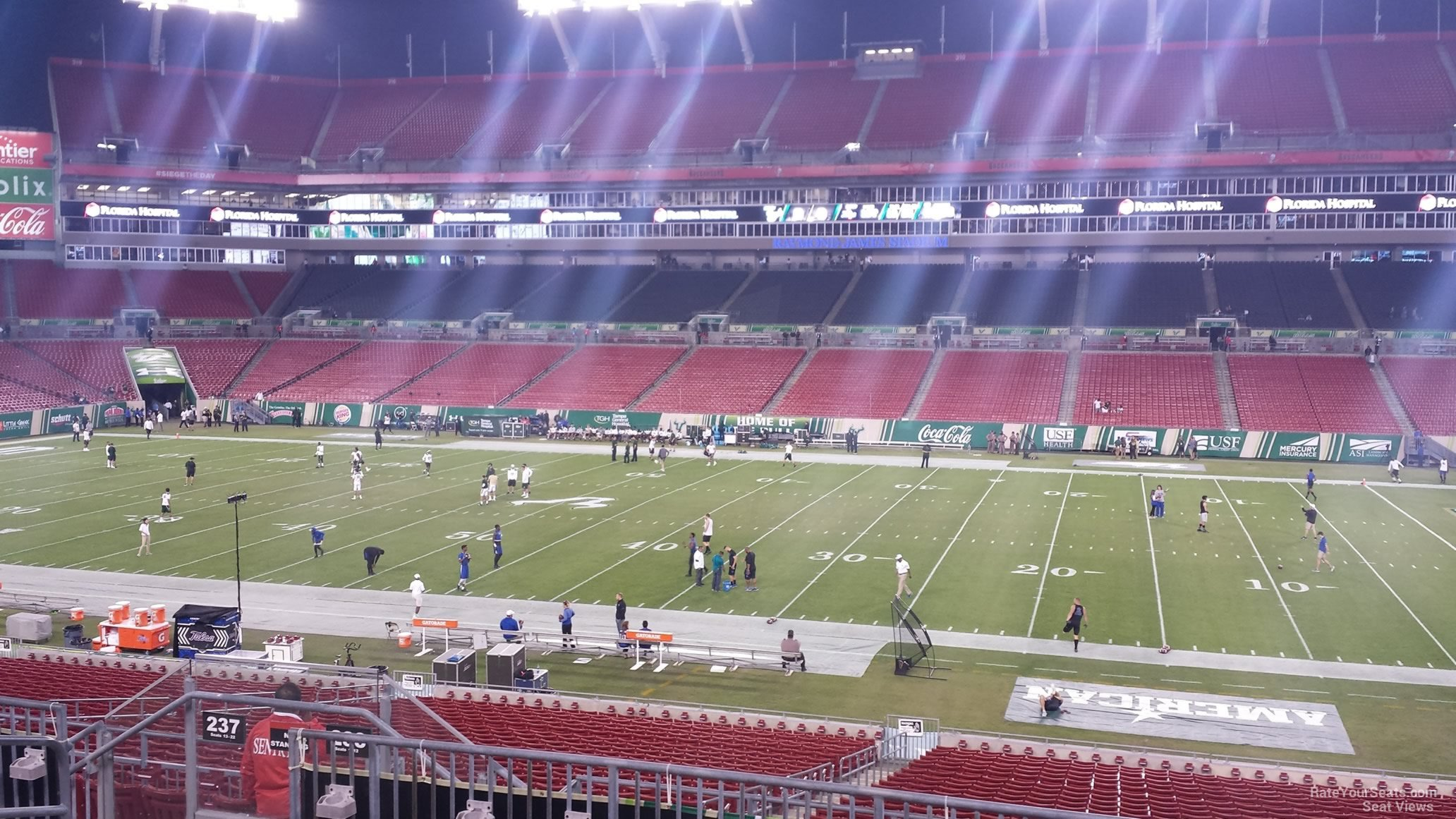 Seat View for Raymond James Stadium Section 238, Row P