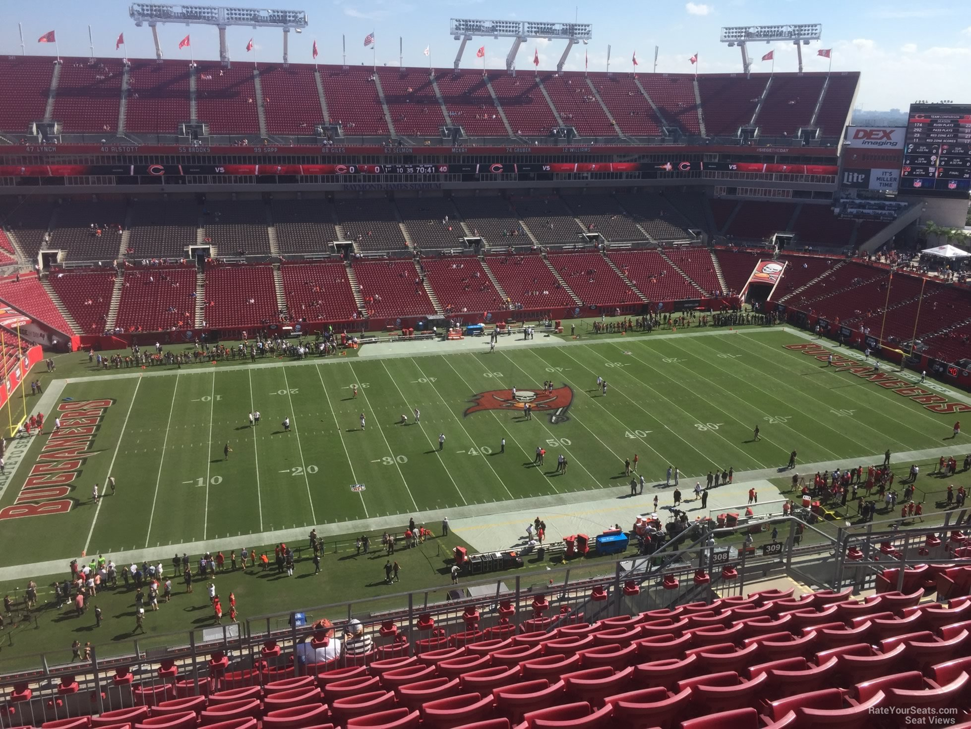 Seat View for Raymond James Stadium Section 308, Row K