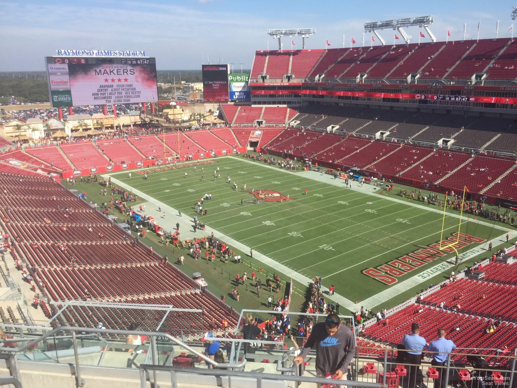 Seat View for Raymond James Stadium Section 319, Row K