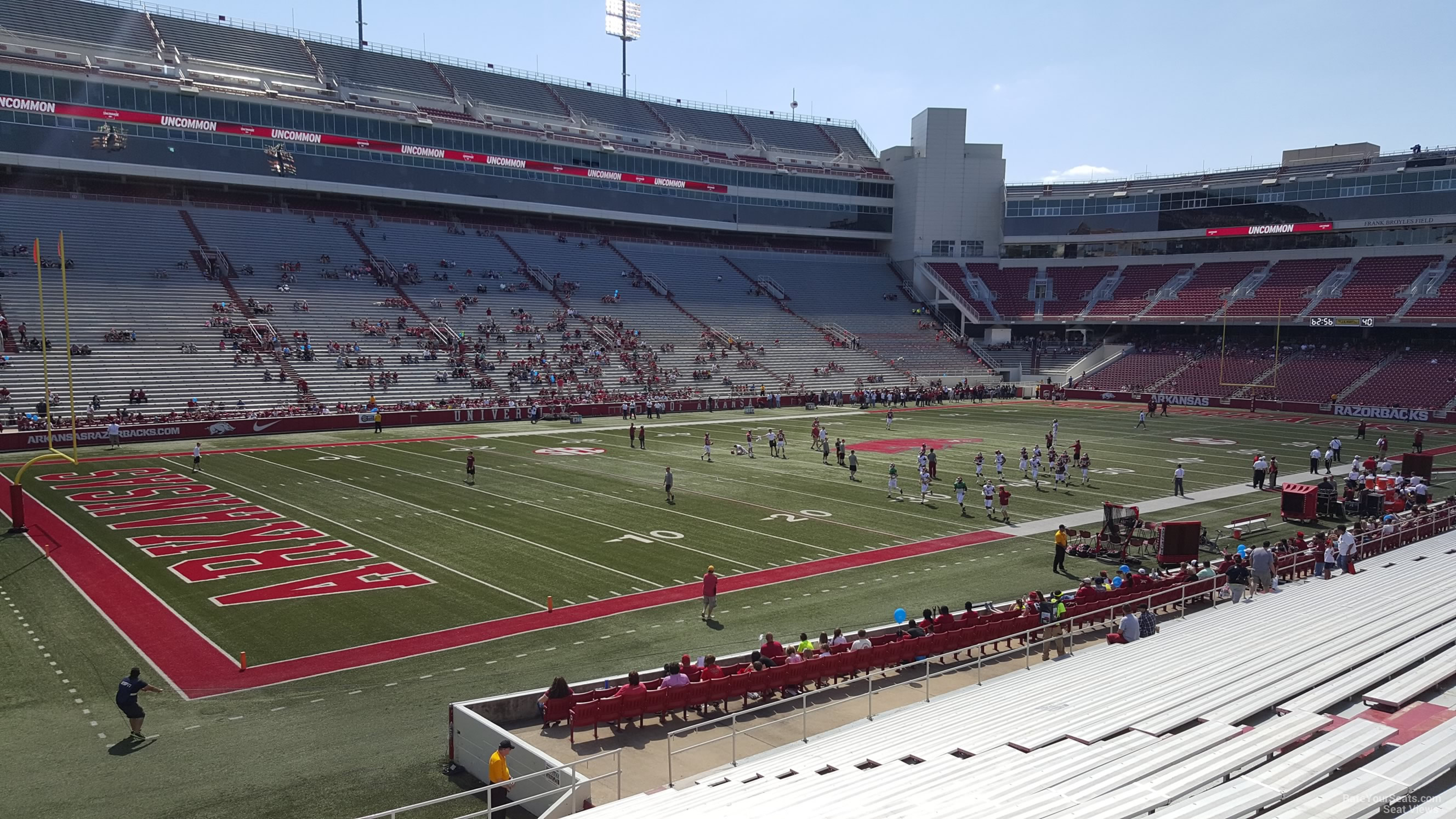 View from Section 107 Row 20 at Razorback Stadium