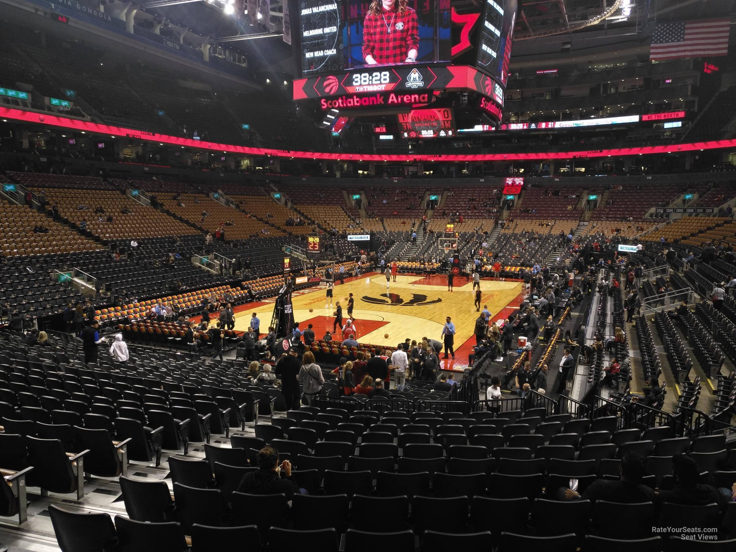 Toronto Raptors Seat View for Scotiabank Arena Section 101, Row 28