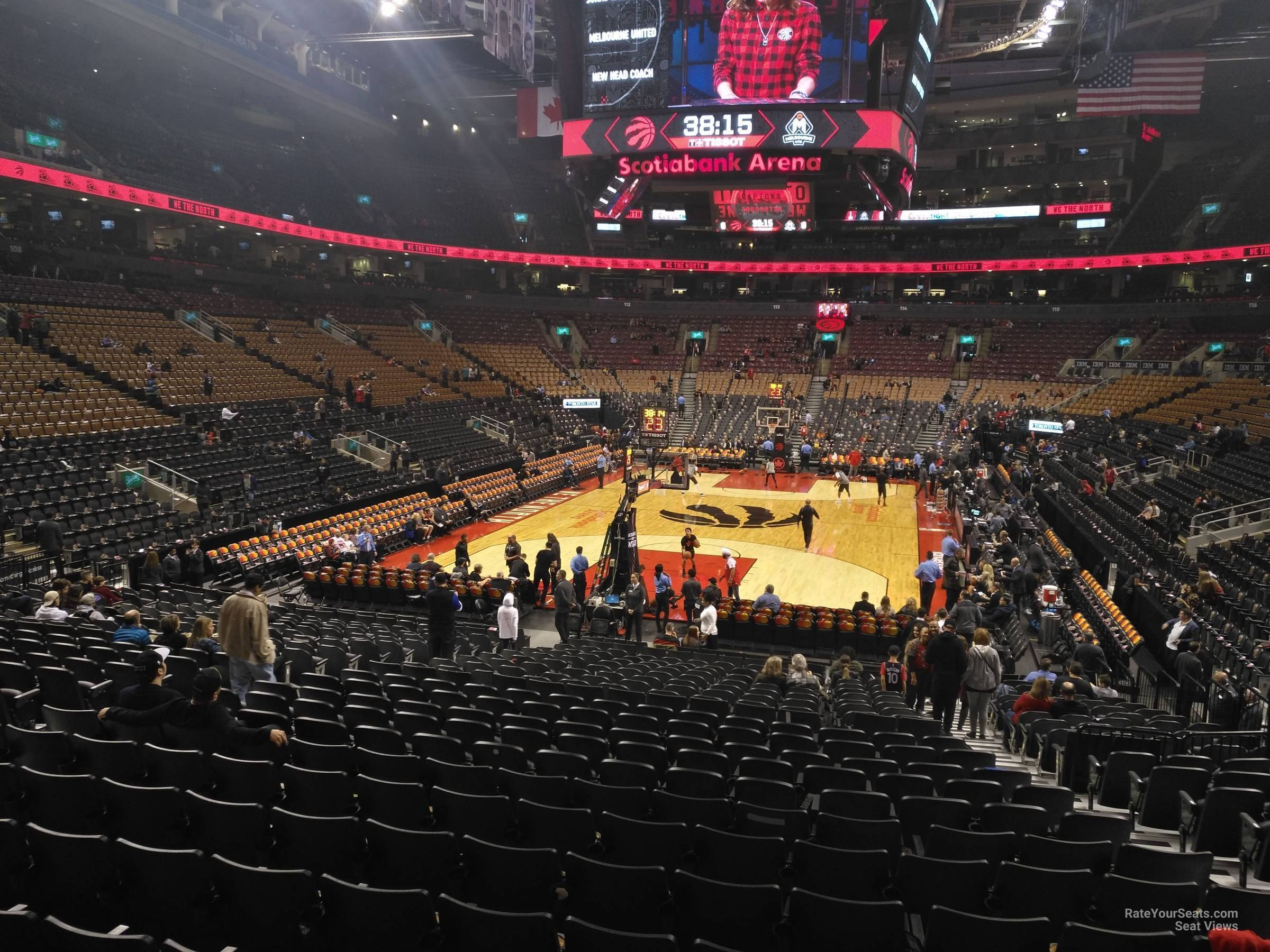 Toronto Raptors Seat View for Scotiabank Arena Section 102, Row 28