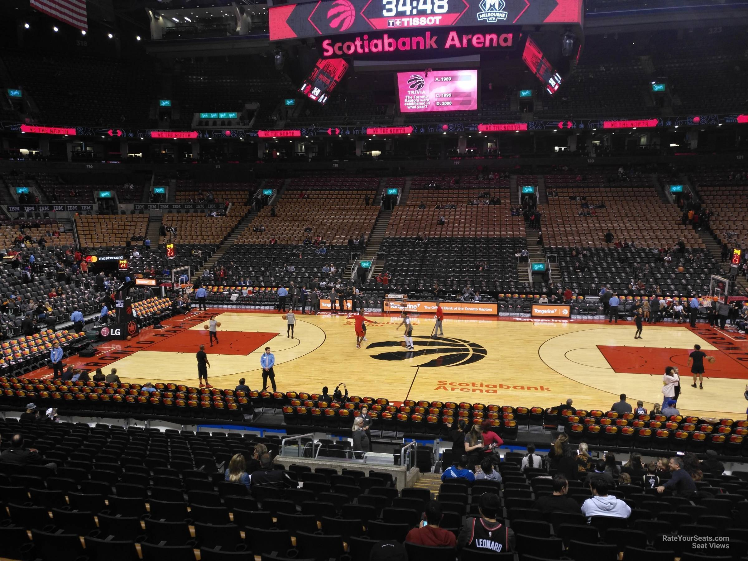 Toronto Raptors Seat View for Scotiabank Arena Section 108, Row 28