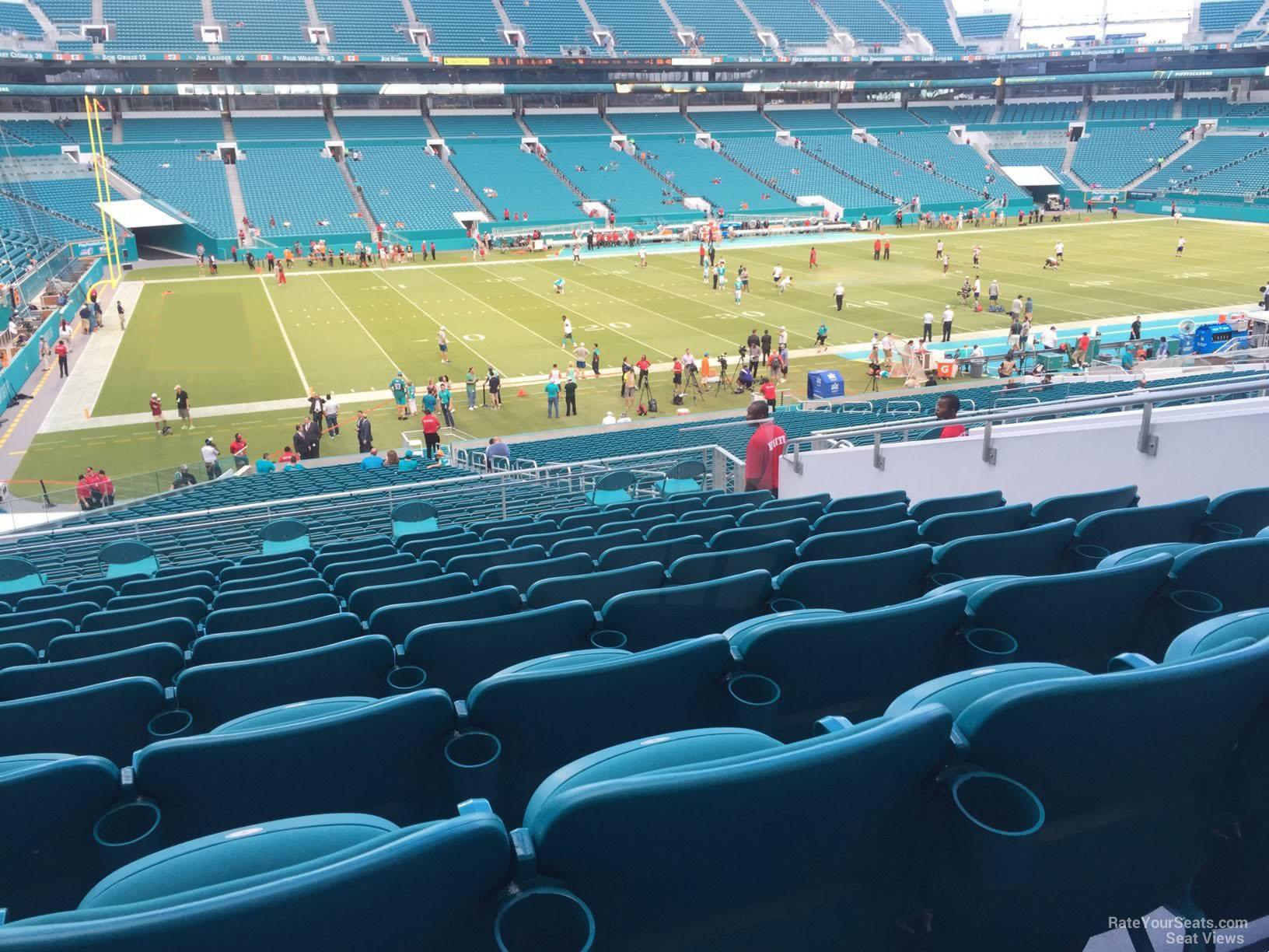 club level sideline - hard rock stadium football seating