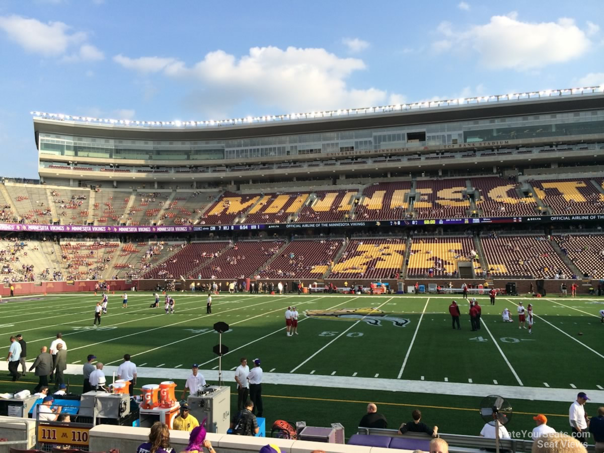 Seat View for TCF Bank Stadium Section 110, Row 10
