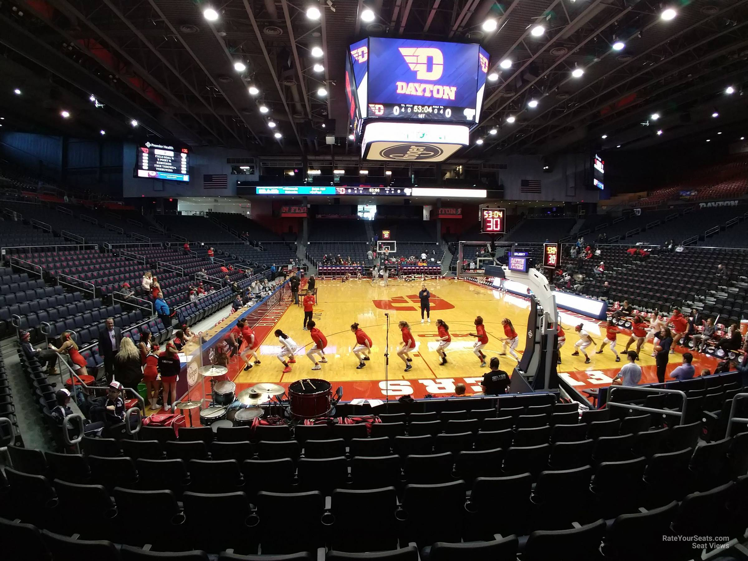 Seat View for University of Dayton Arena Section 109, Row J