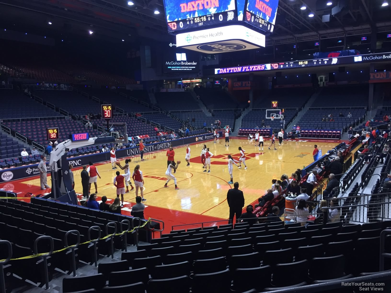 Seat View for University of Dayton Arena Section 211, Row B