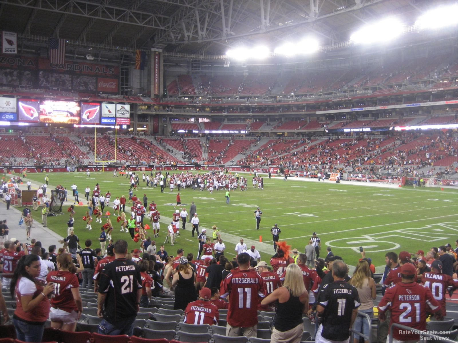 Arizona Cardinals Seat View for University of Phoenix Stadium Section 101, Row 20