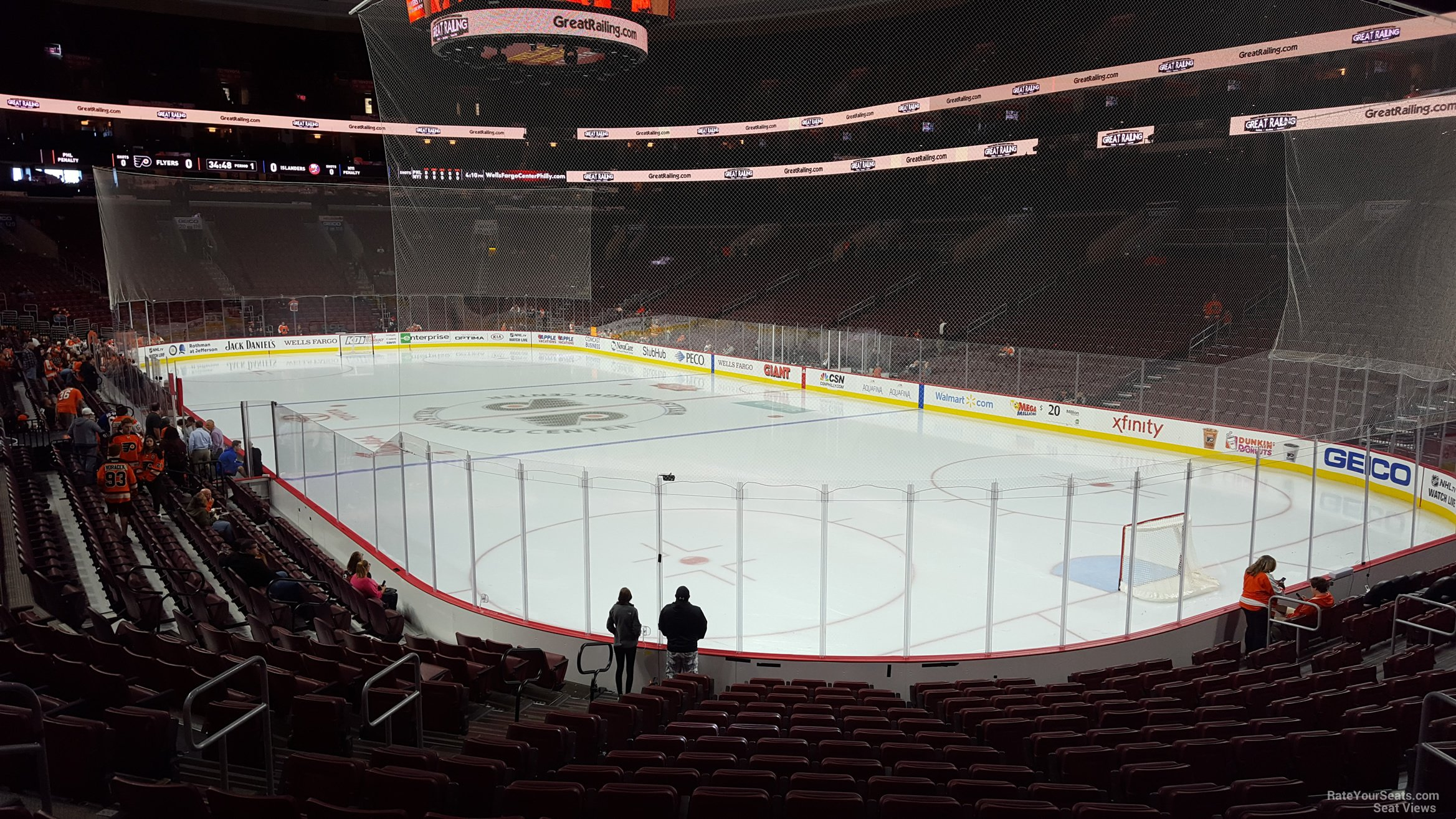 Philadelphia Flyers Seat View for Wells Fargo Center Section 105, Row 17