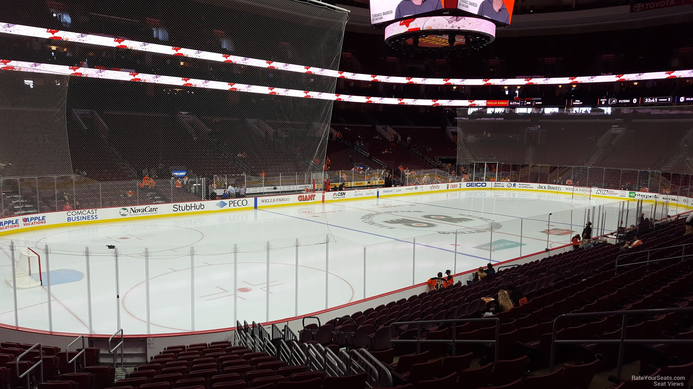 Philadelphia Flyers Seat View for Wells Fargo Center Section 110, Row 17