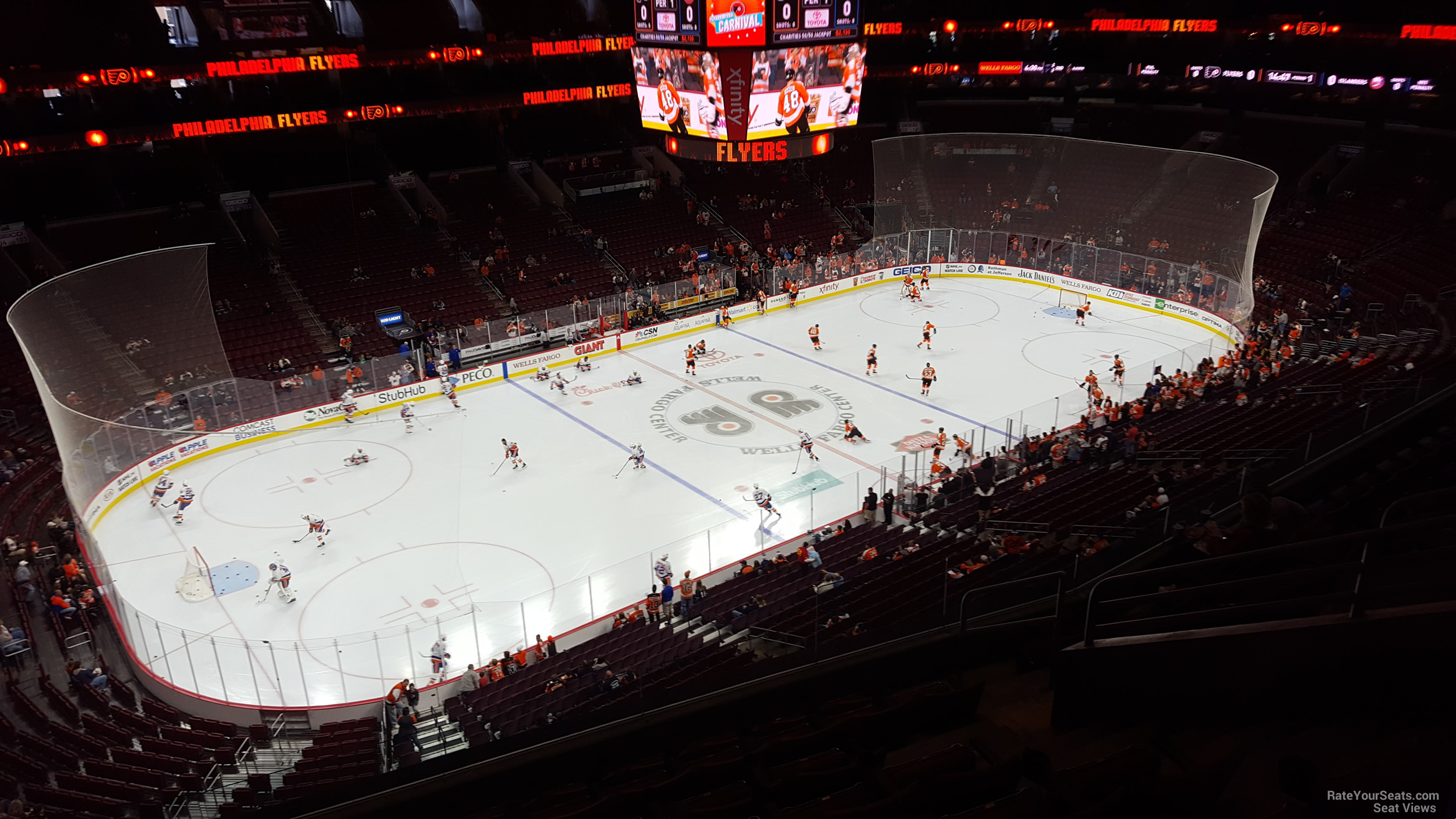 Philadelphia Flyers Seat View for Wells Fargo Center Section 210A, Row 8
