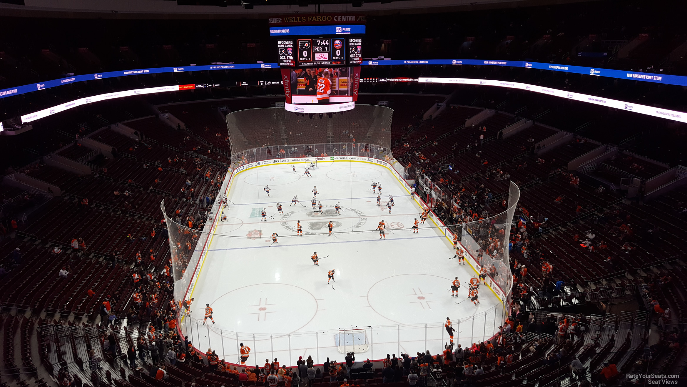 Philadelphia Flyers Seat View for Wells Fargo Center Section 219, Row 8