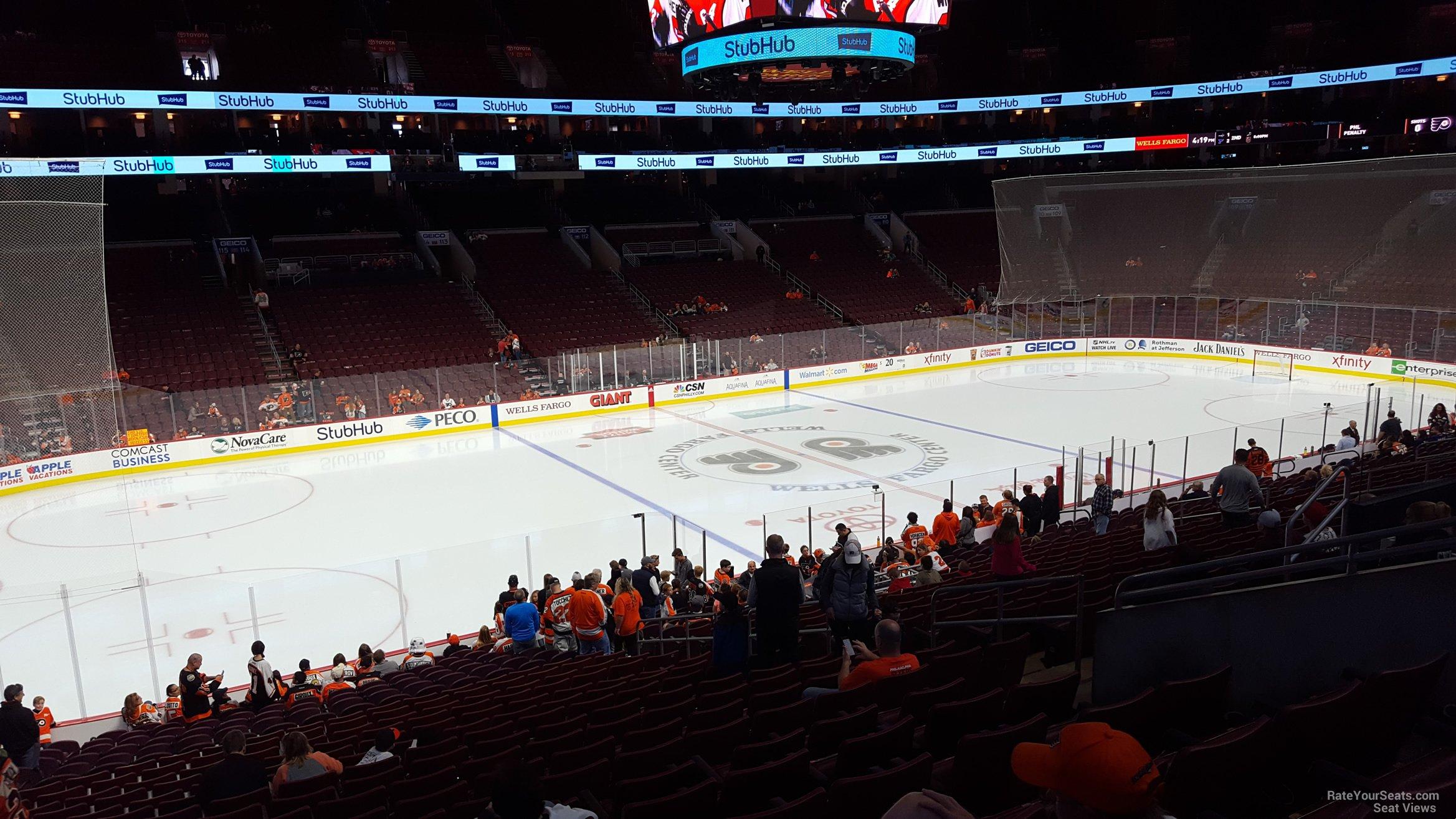 Philadelphia Flyers Seat View for Wells Fargo Center Club Box 23