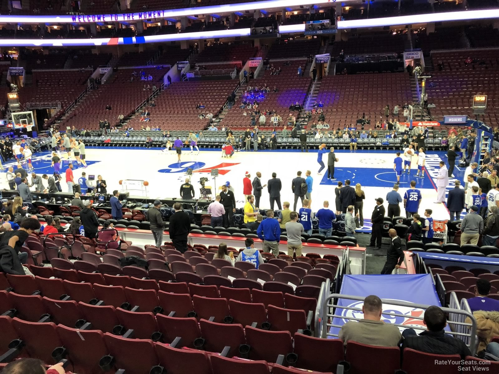 Philadelphia 76ers Seat View for Wells Fargo Center Section 102, Row 14