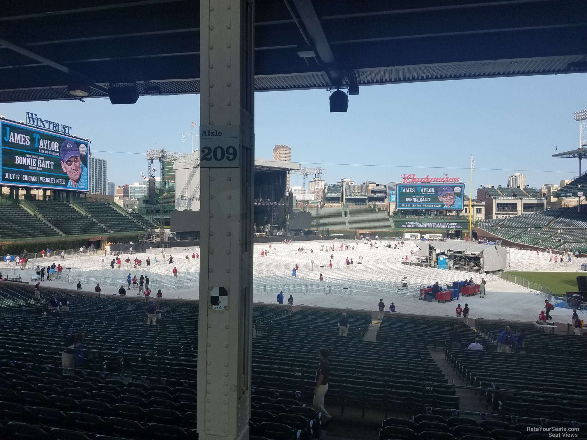 Concert Seat View for Wrigley Field Section 208, Row 11, Seat 1