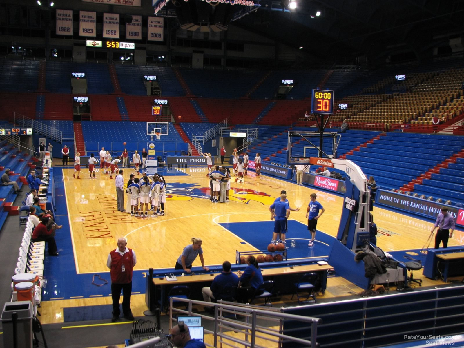 Seat View for Allen Fieldhouse Section N, Row 15