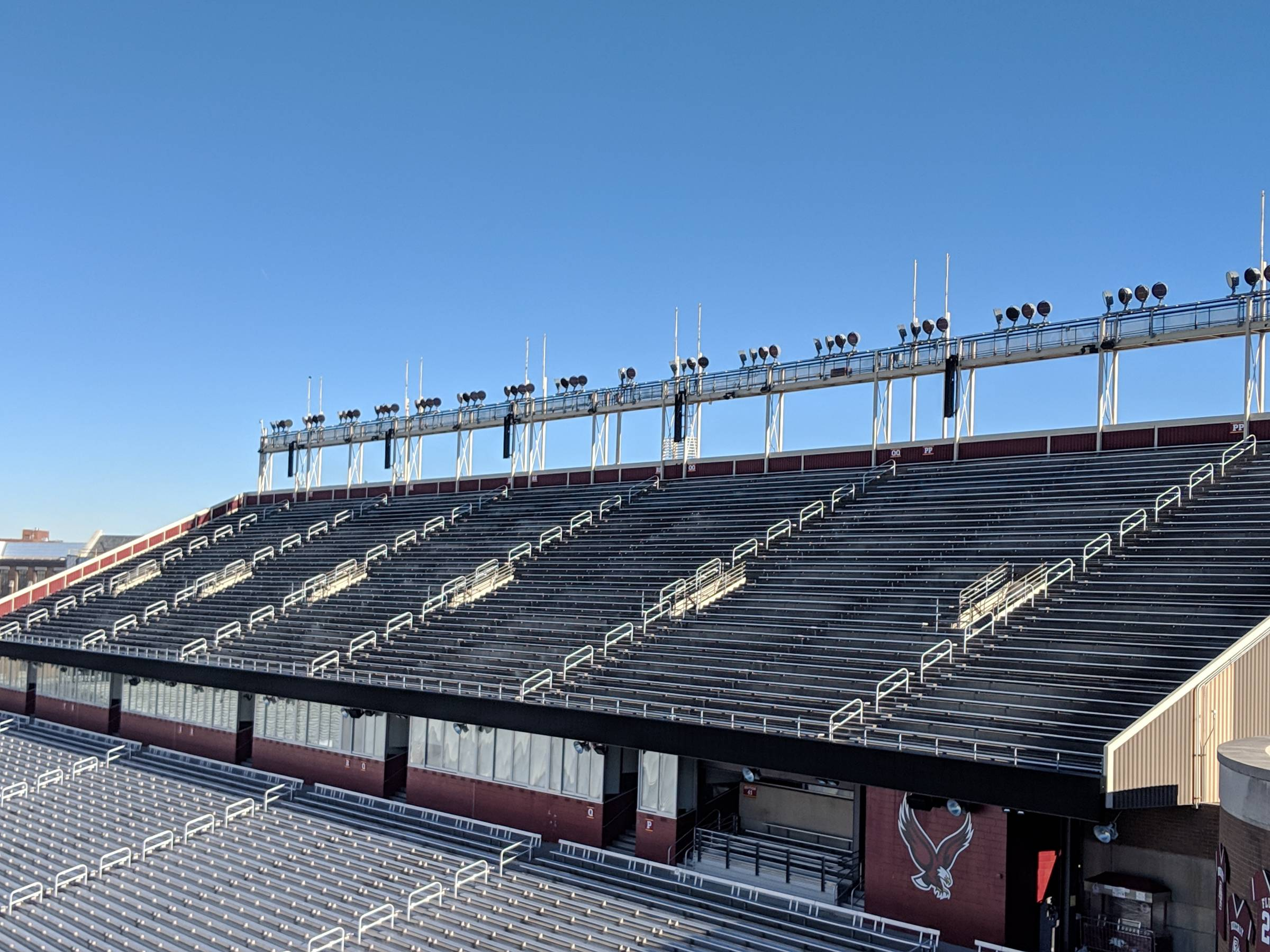 upper level seating on the east side of alumni stadium at boston college