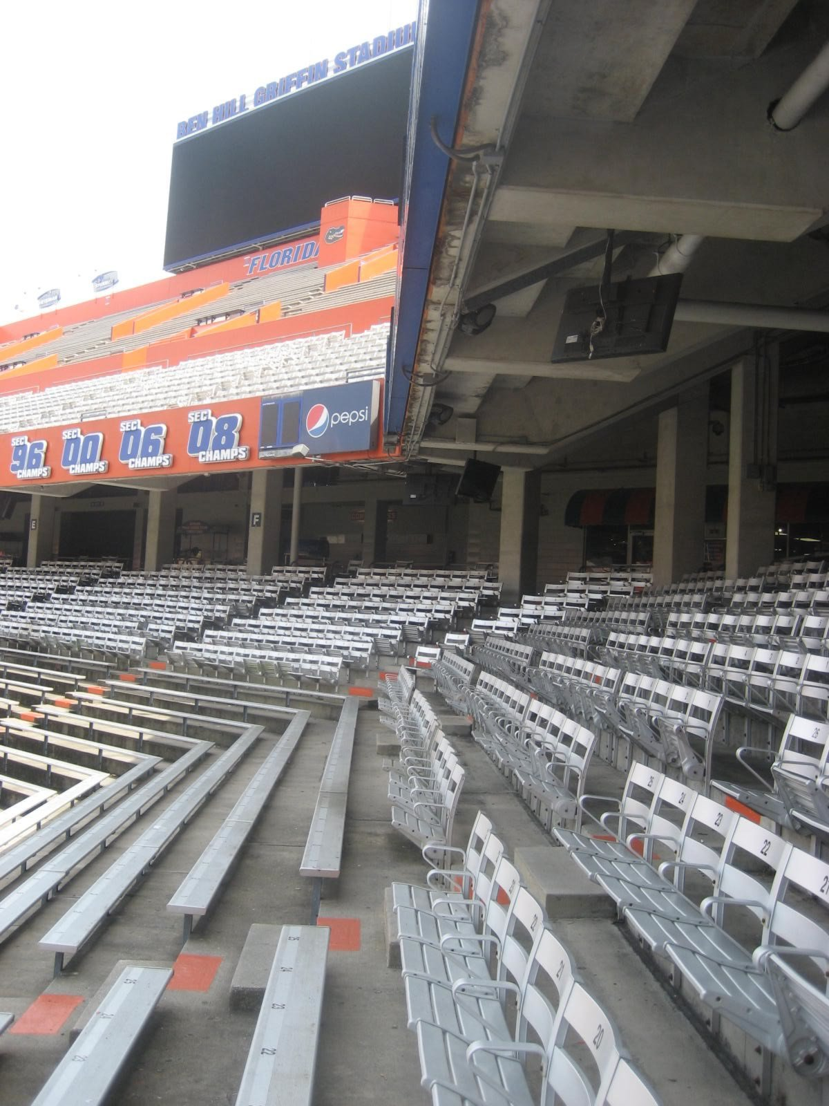 Most Chairback Seats In Sections A H Are Also Under Cover This Photo From Section Shows That The First Row Of Stadium Chairs Is Only Partially Covered