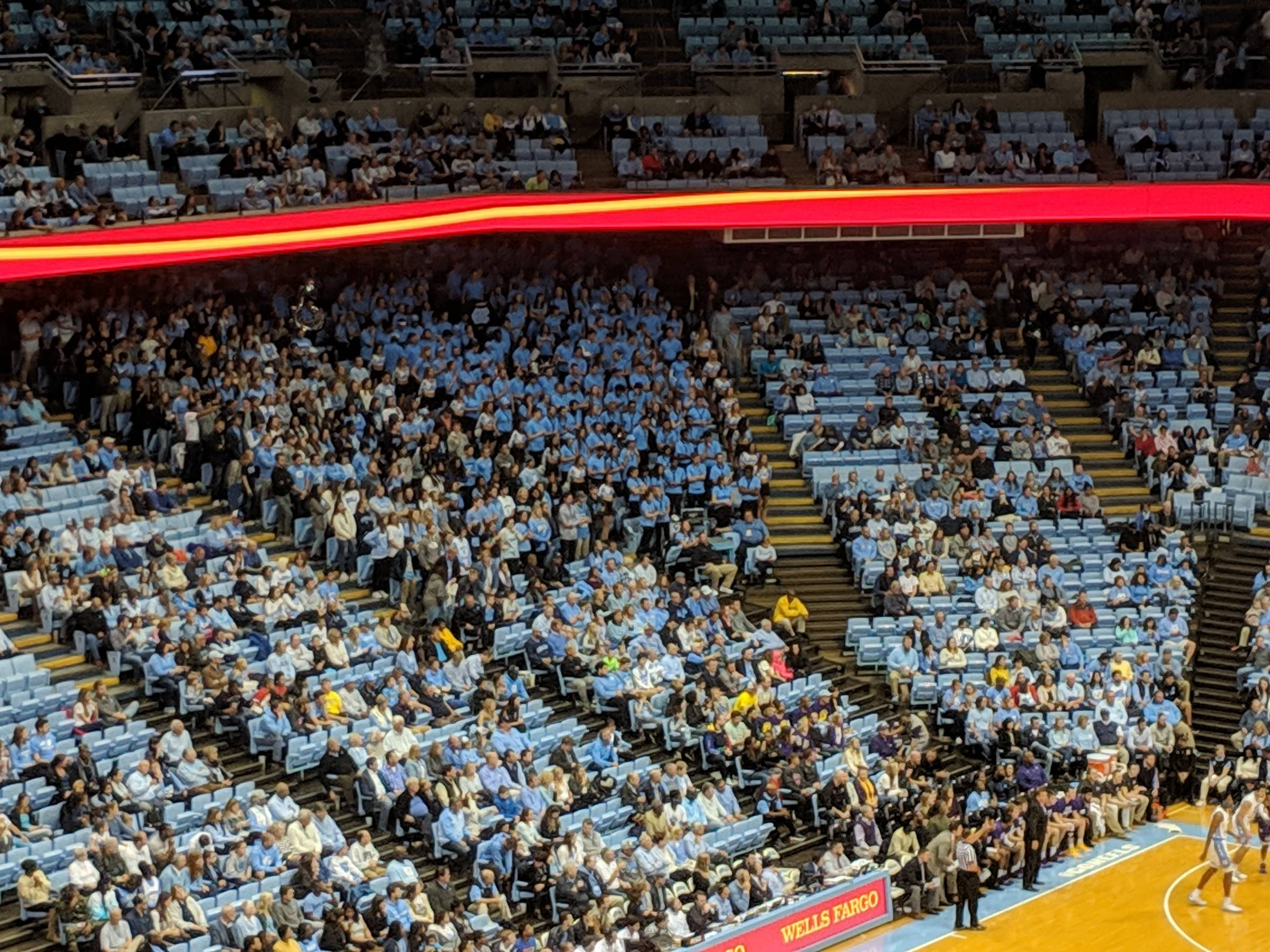 Student and band seating Dean Smith Center