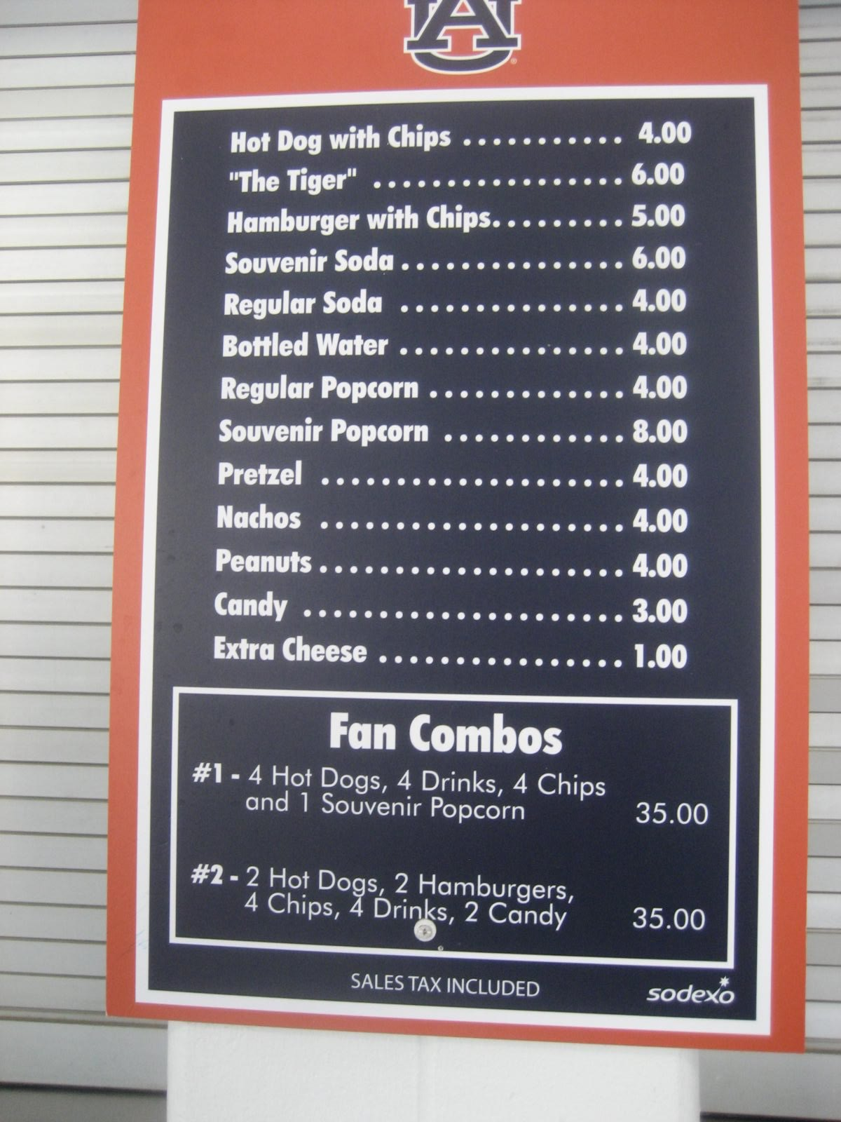 Upper concourse food menu