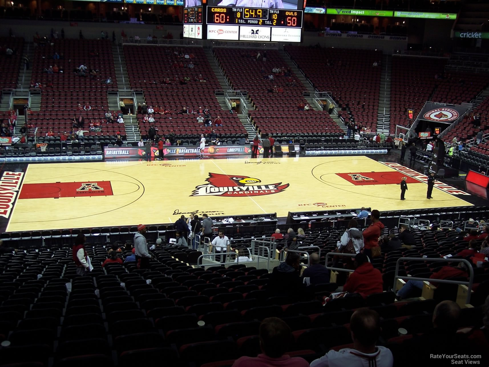 Seat View for KFC Yum! Center Section 107, Row EE