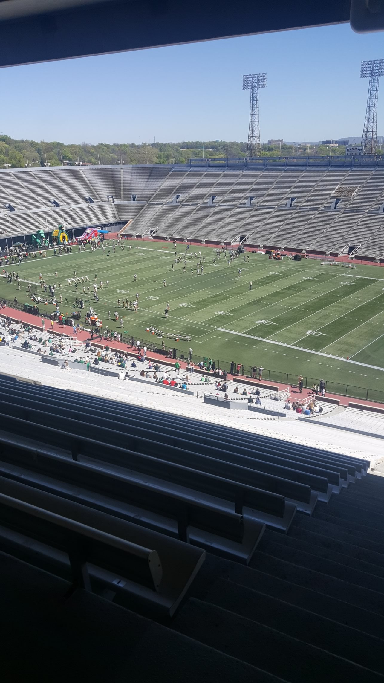 Covered upper deck seats at Legion Field