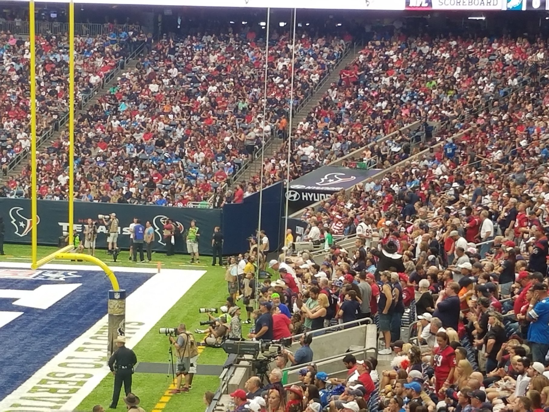 If You Like Standing And Cheering Hard At A Texans Seats Behind The Goalposts Attract That Crowd
