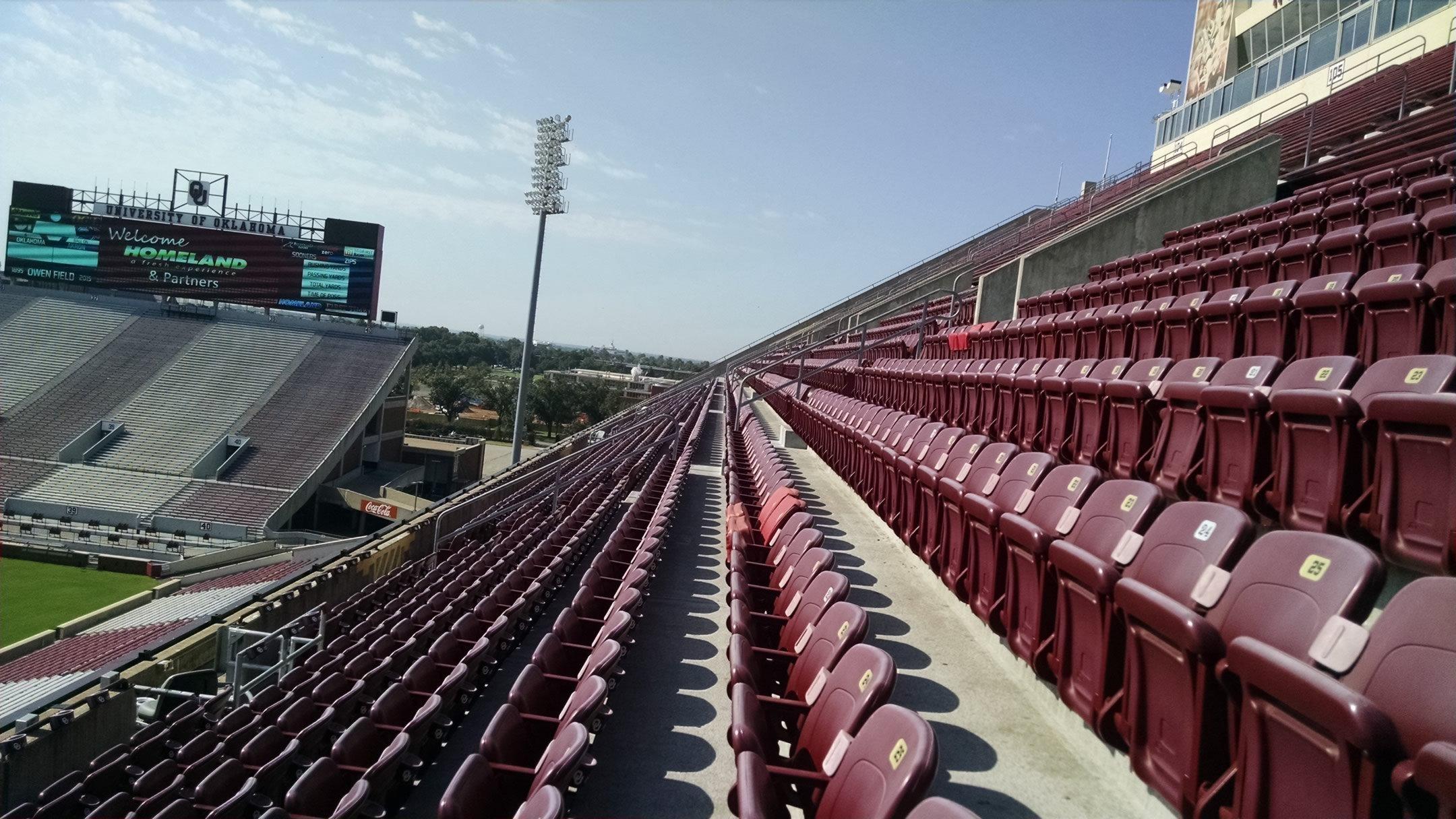 Chairback Seating At Oklahoma Memorial Stadium Rateyourseats Com