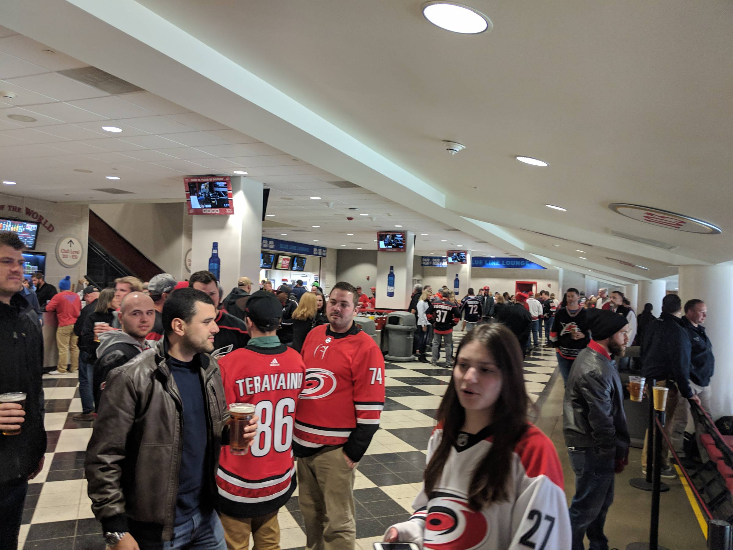 center ice club concourse at PNC Arena