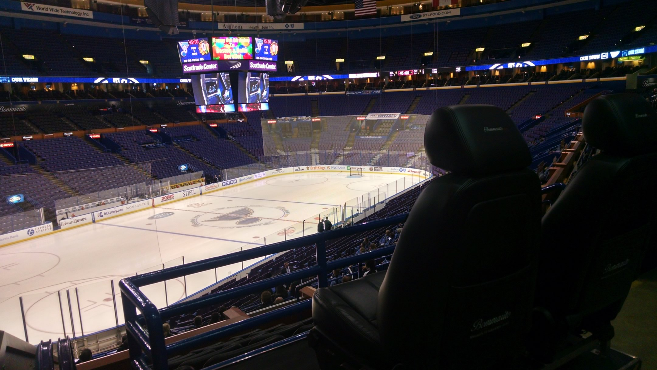 Seat view from Club Center 102 at Scottrade Center