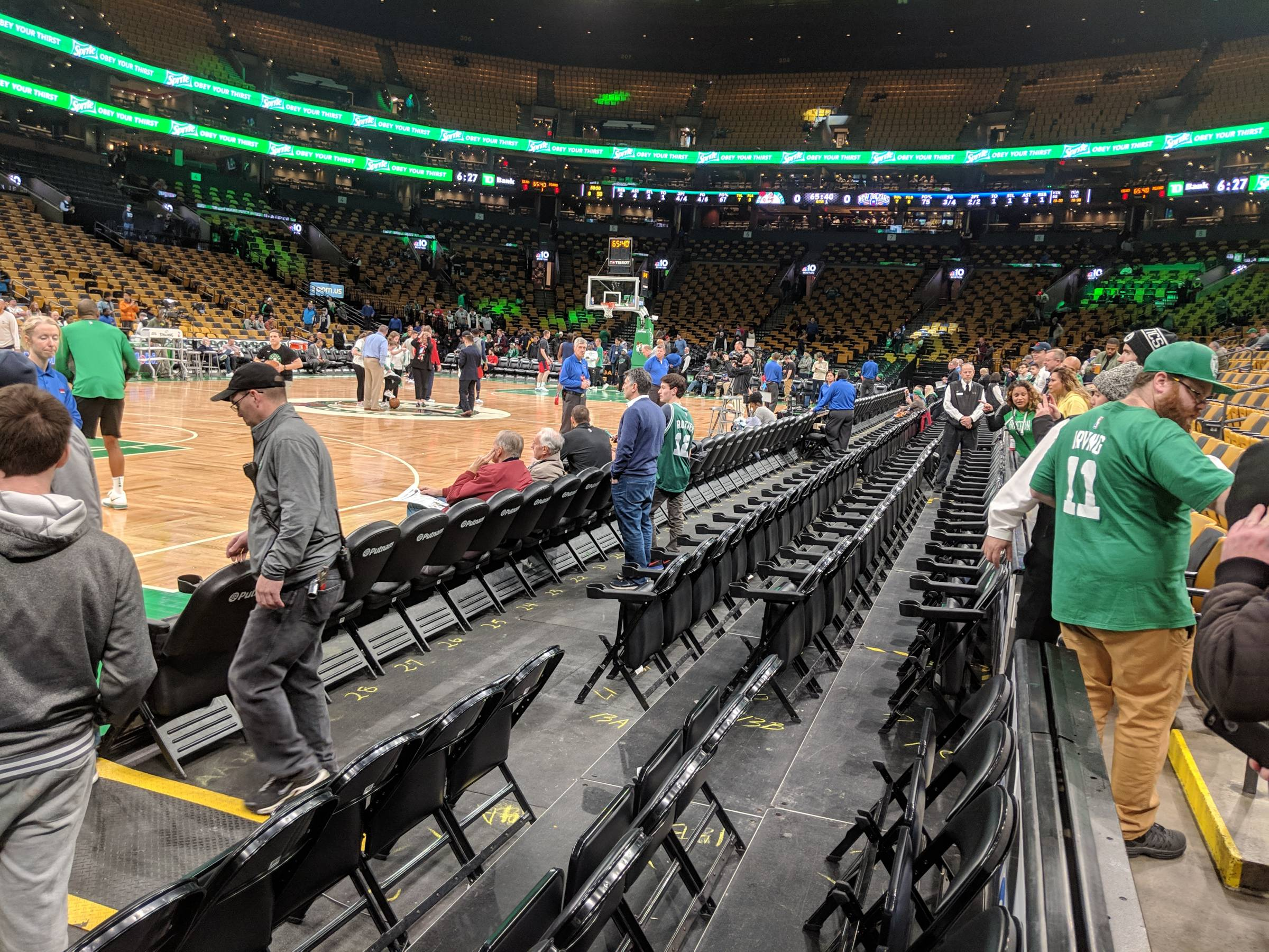 courtside seats at TD Garden in Boston