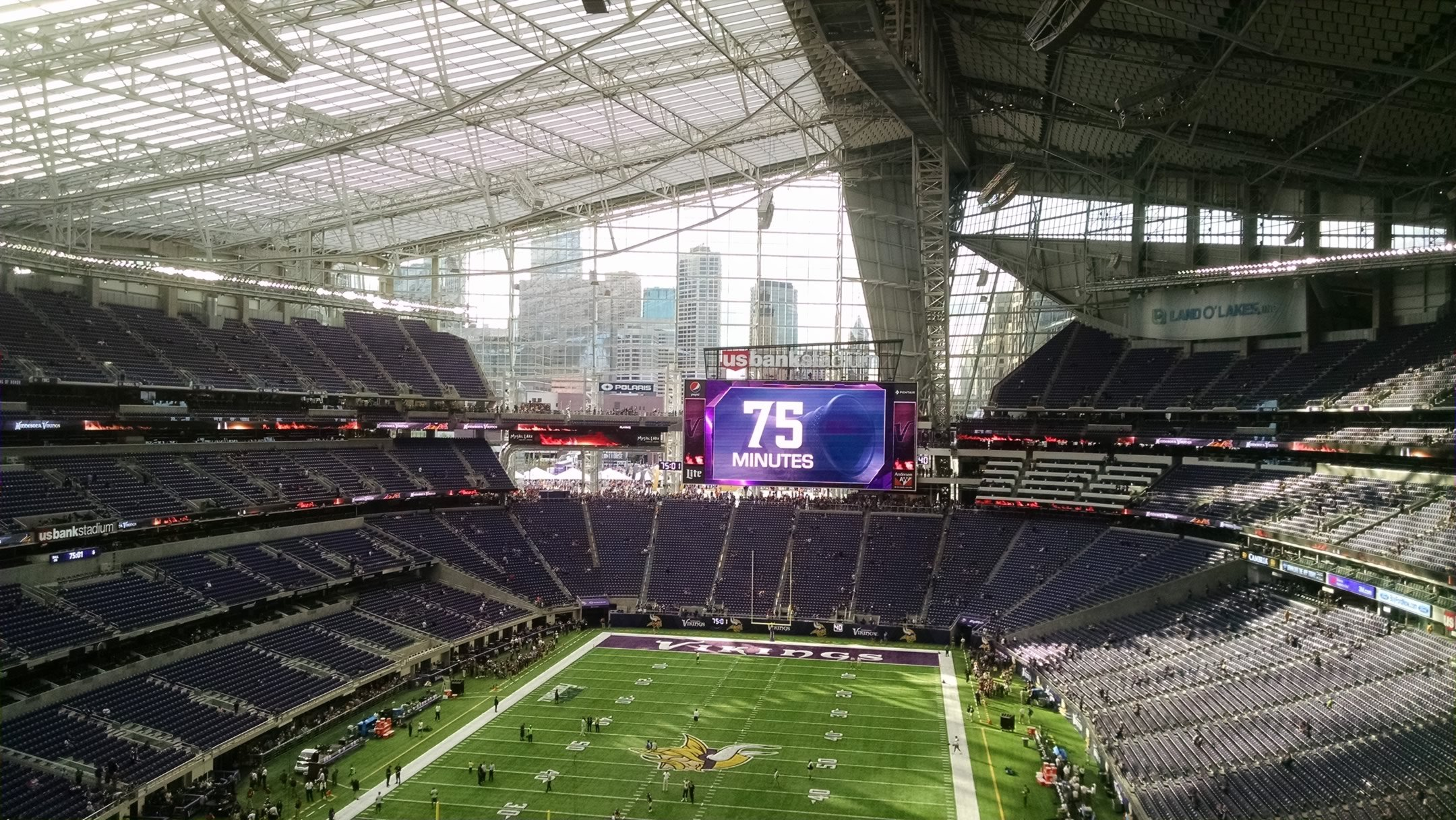 The Stadium S Main Videoboard Sits Above Sections 140 143 And Frames Views Of Downtown Minneapolis